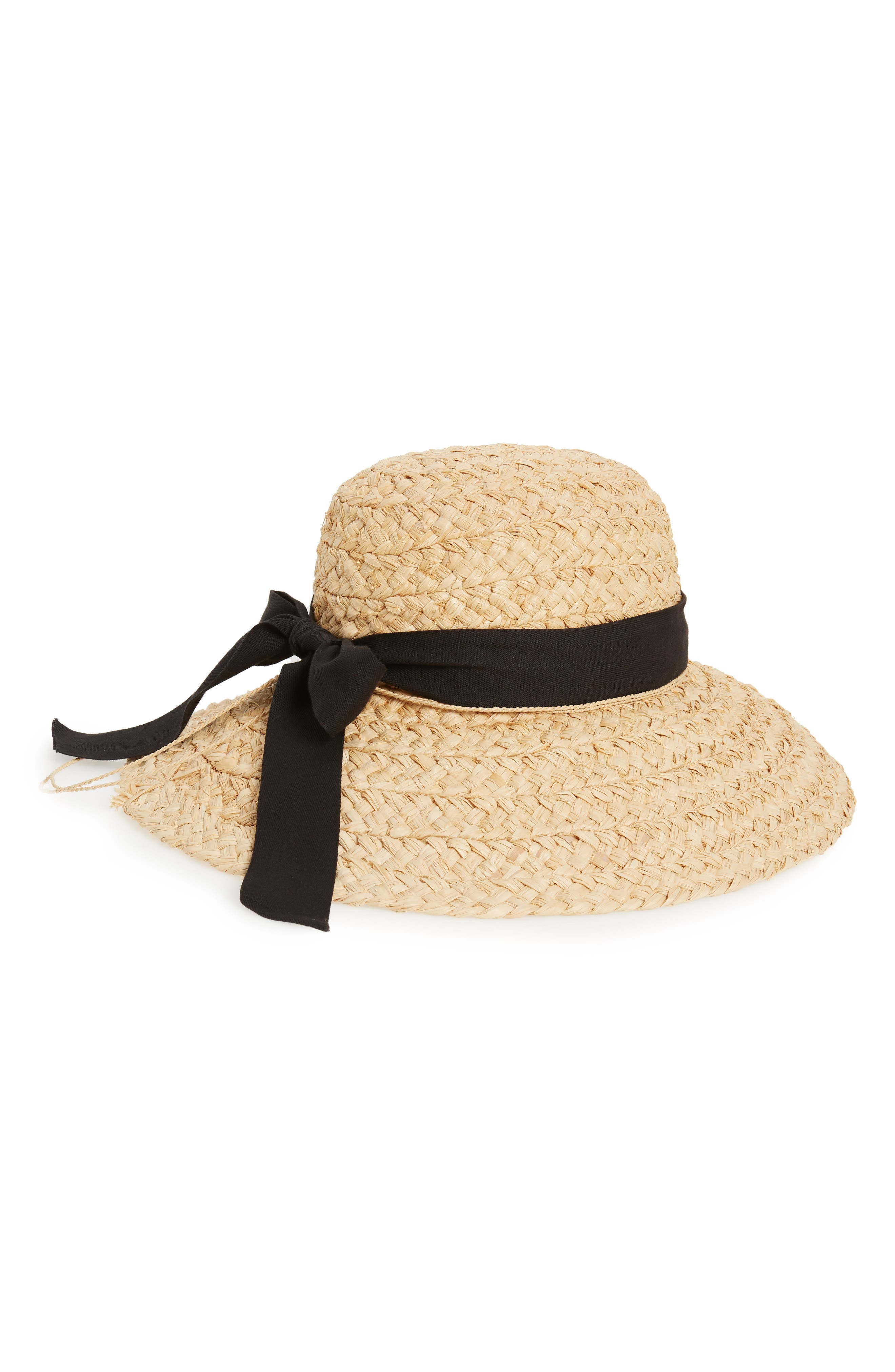 Helen Kaminiski Classic Wide Braid Raffia Hat - Black