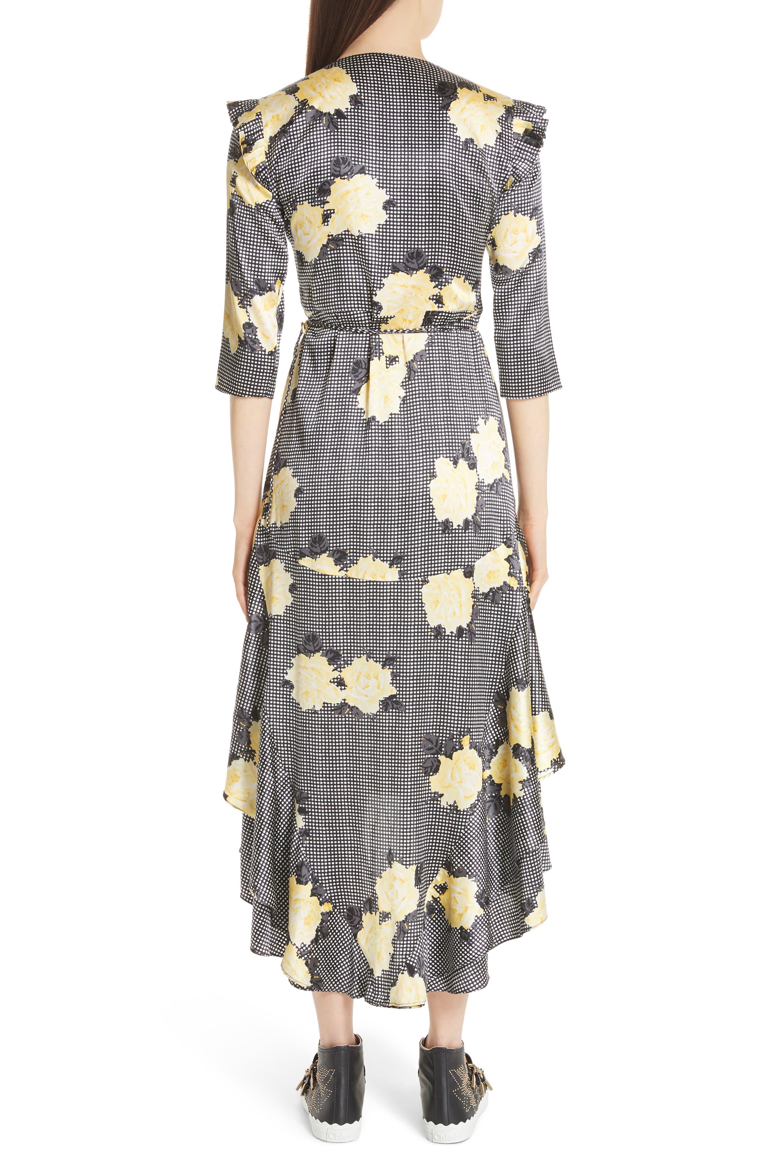Calla Floral Silk Wrap Dress,                             Alternate thumbnail 2, color,                             BLACK