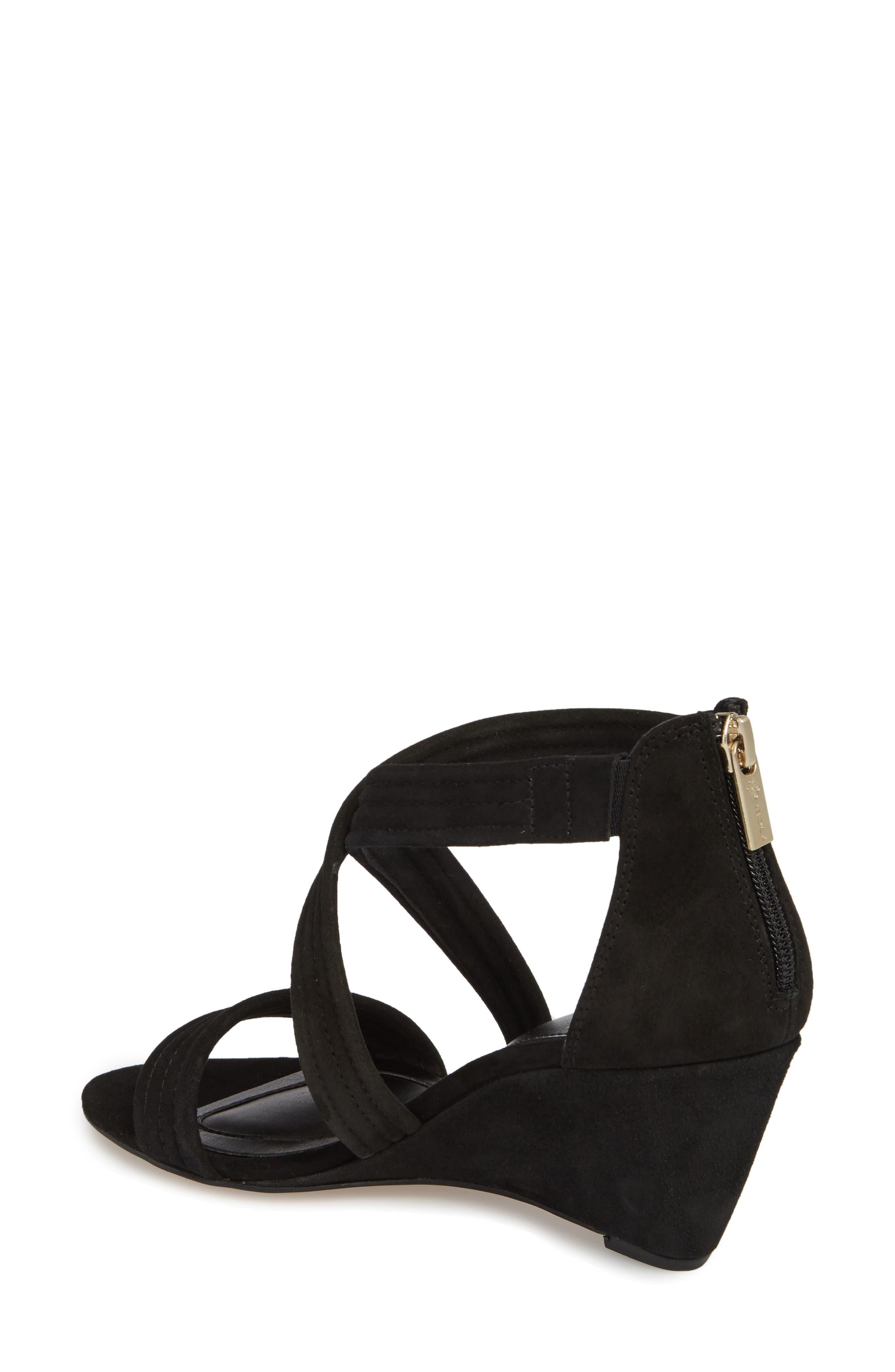 Fia Wedge Sandal,                             Alternate thumbnail 2, color,                             BLACK SUEDE