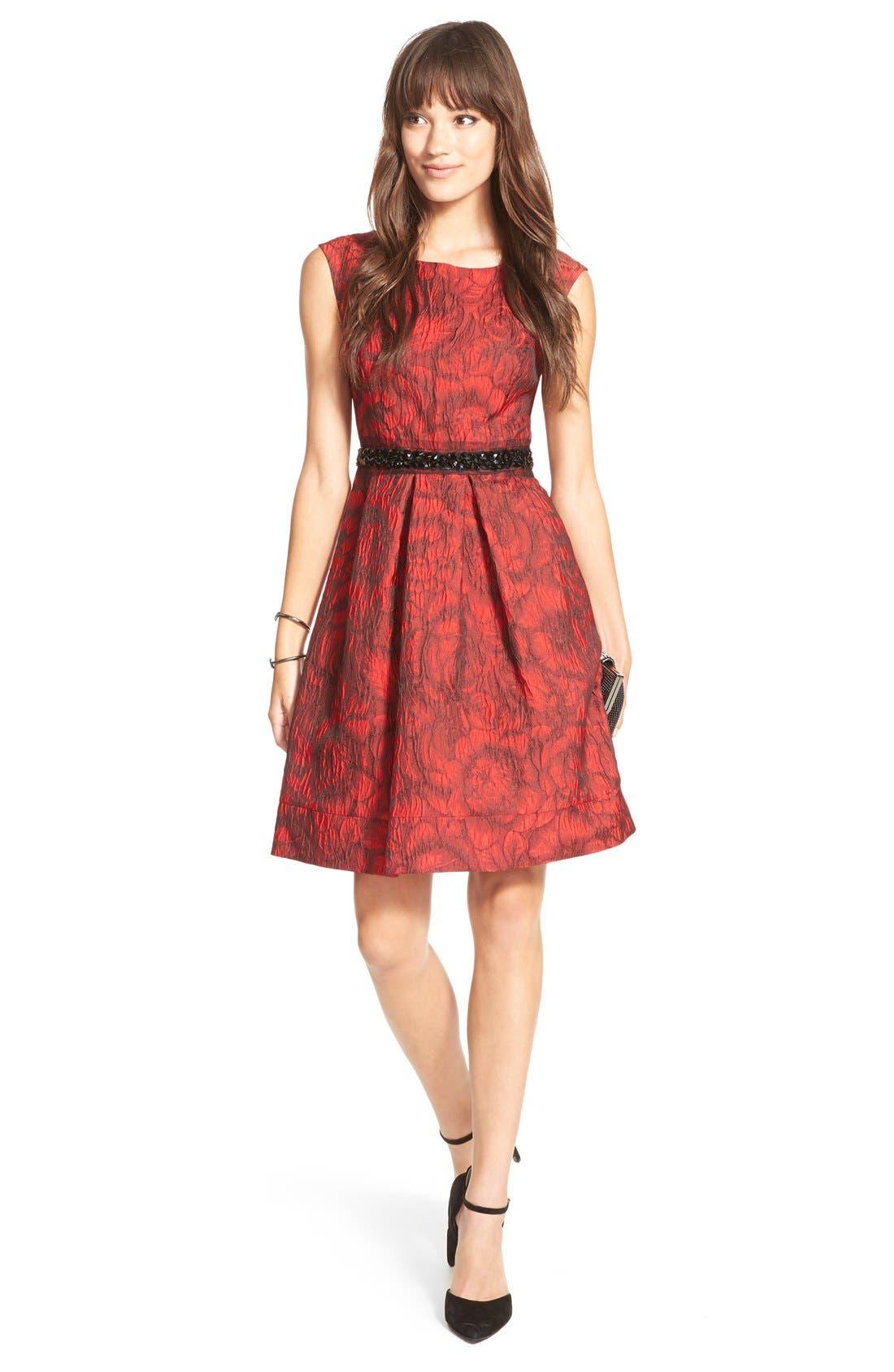 Embellished Waist Brocade Fit & Flare Dress,                             Alternate thumbnail 5, color,                             614