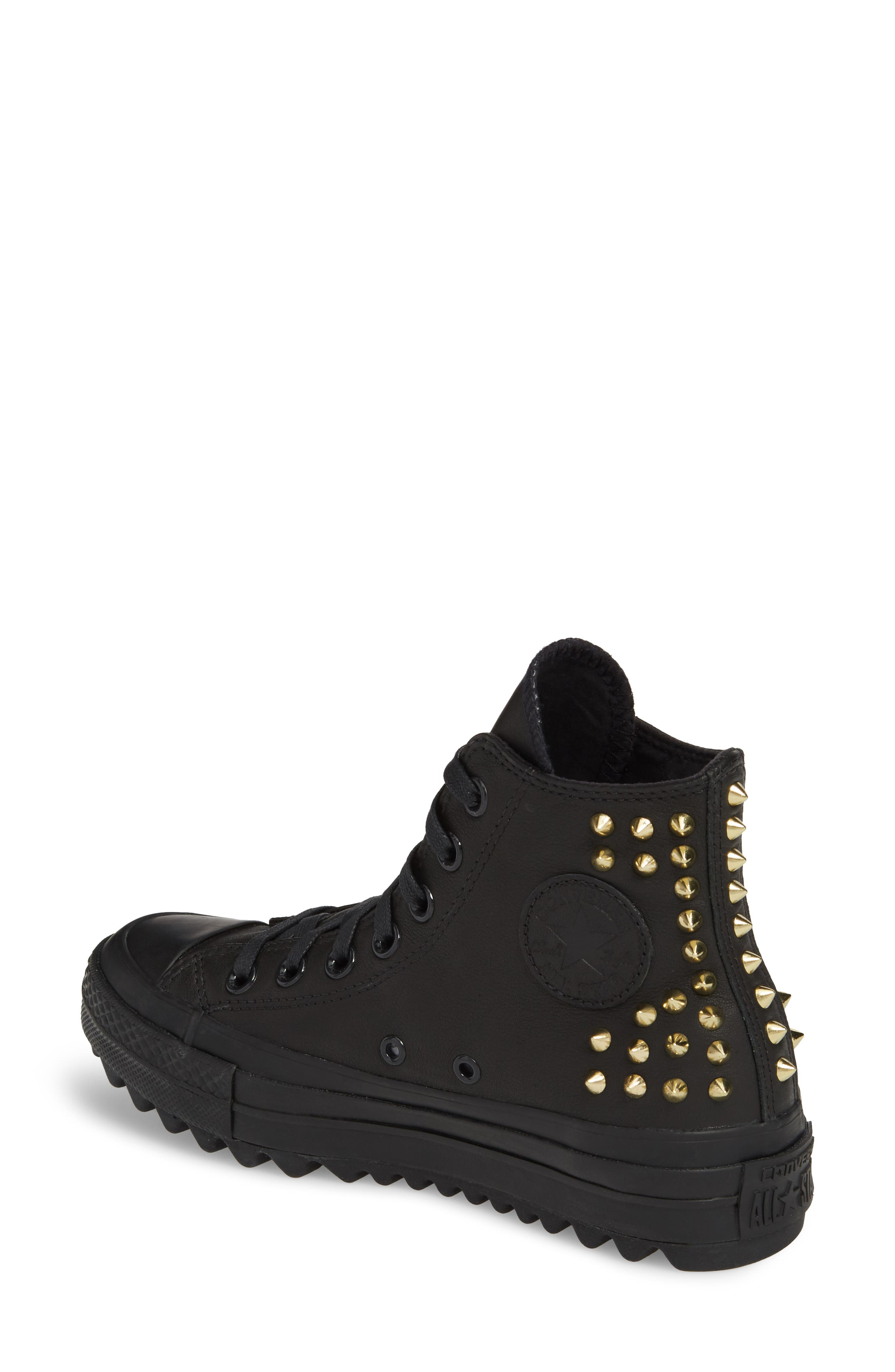 Chuck Taylor<sup>®</sup> All Star<sup>®</sup> Lift Ripple Studded High Top Sneaker,                             Alternate thumbnail 2, color,                             001