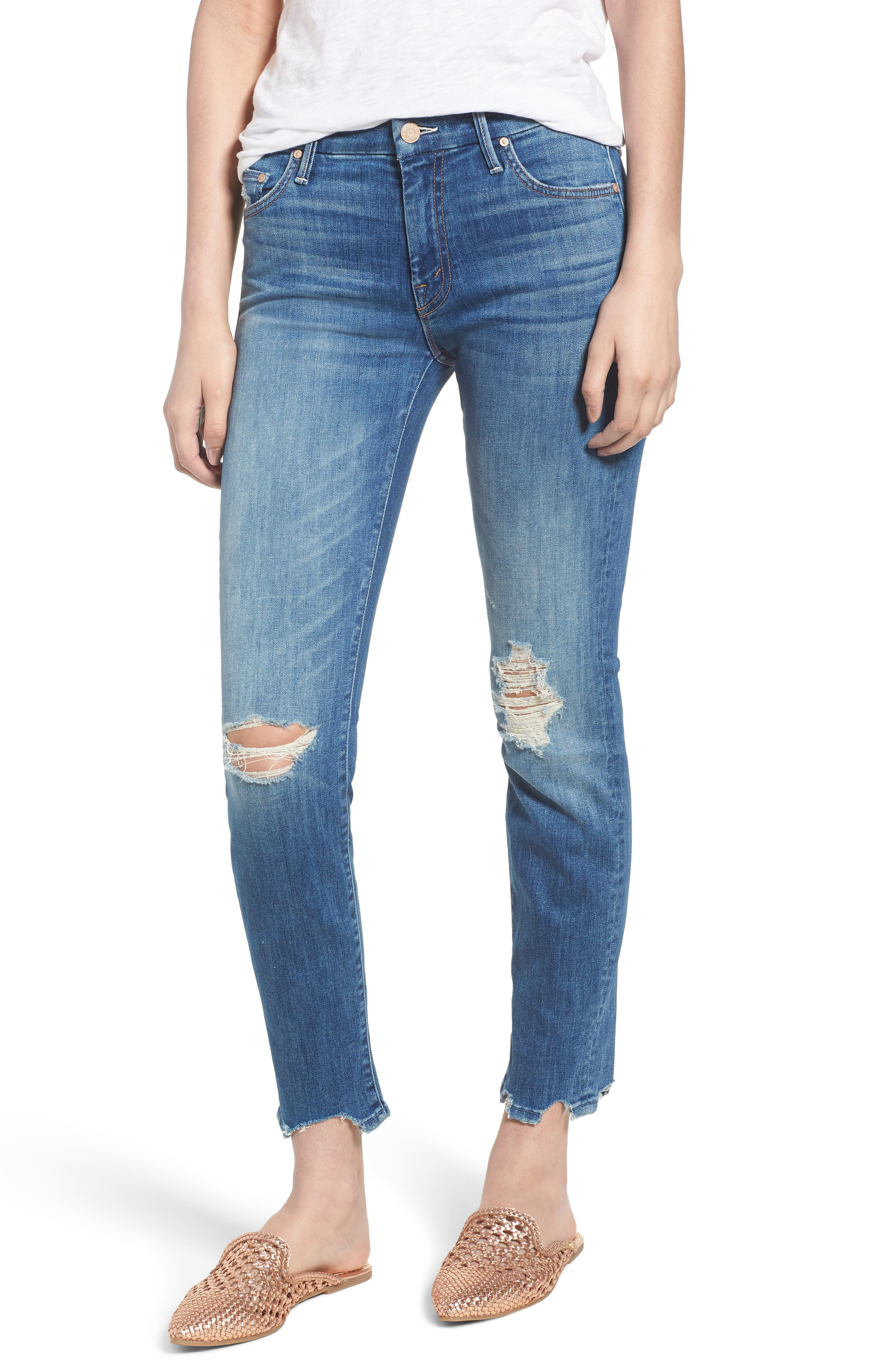 The Looker Chew Hem Ankle Skinny Jeans,                             Main thumbnail 1, color,                             400