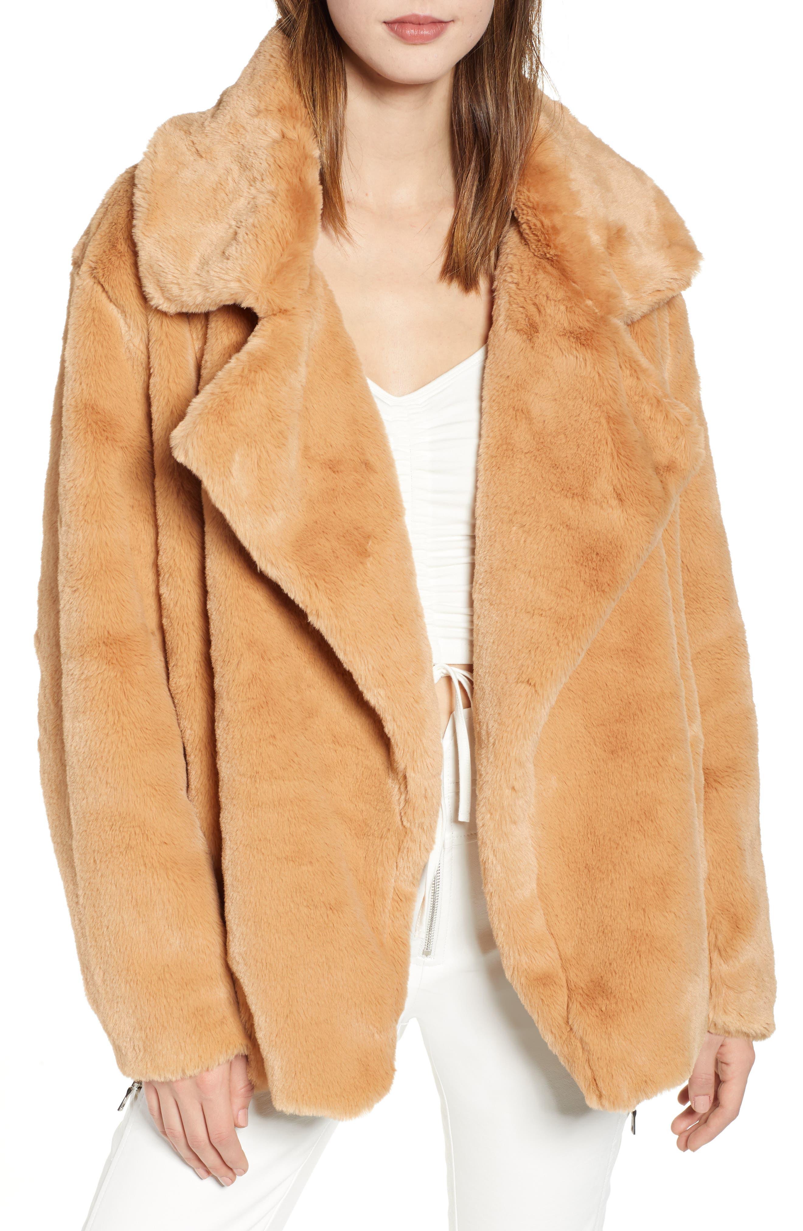 Fawkner Faux Fur Jacket,                         Main,                         color, TAN