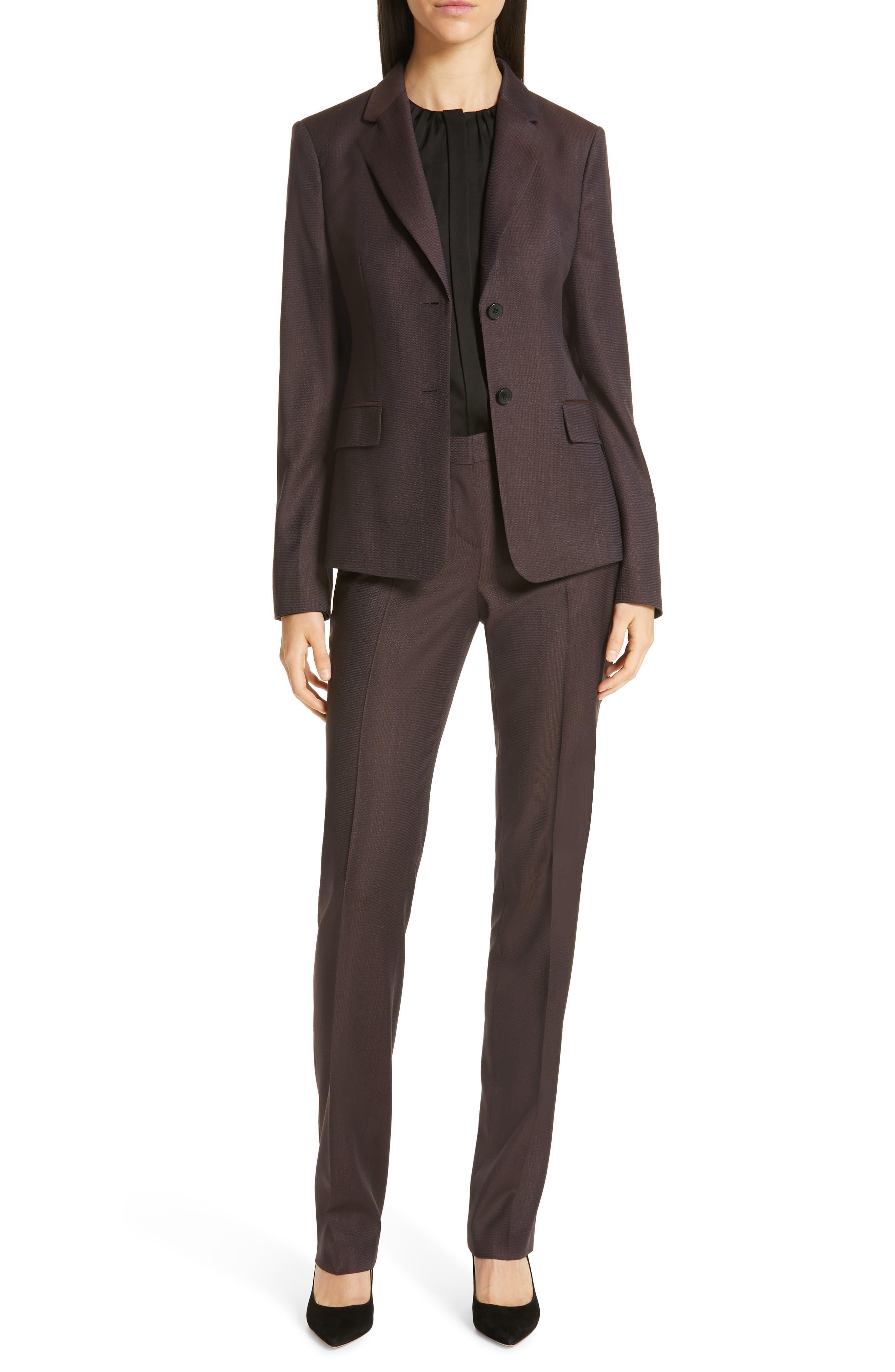 Tamea Slim Wool Suit Pants,                             Alternate thumbnail 8, color,                             DARK BERRY FANTASY