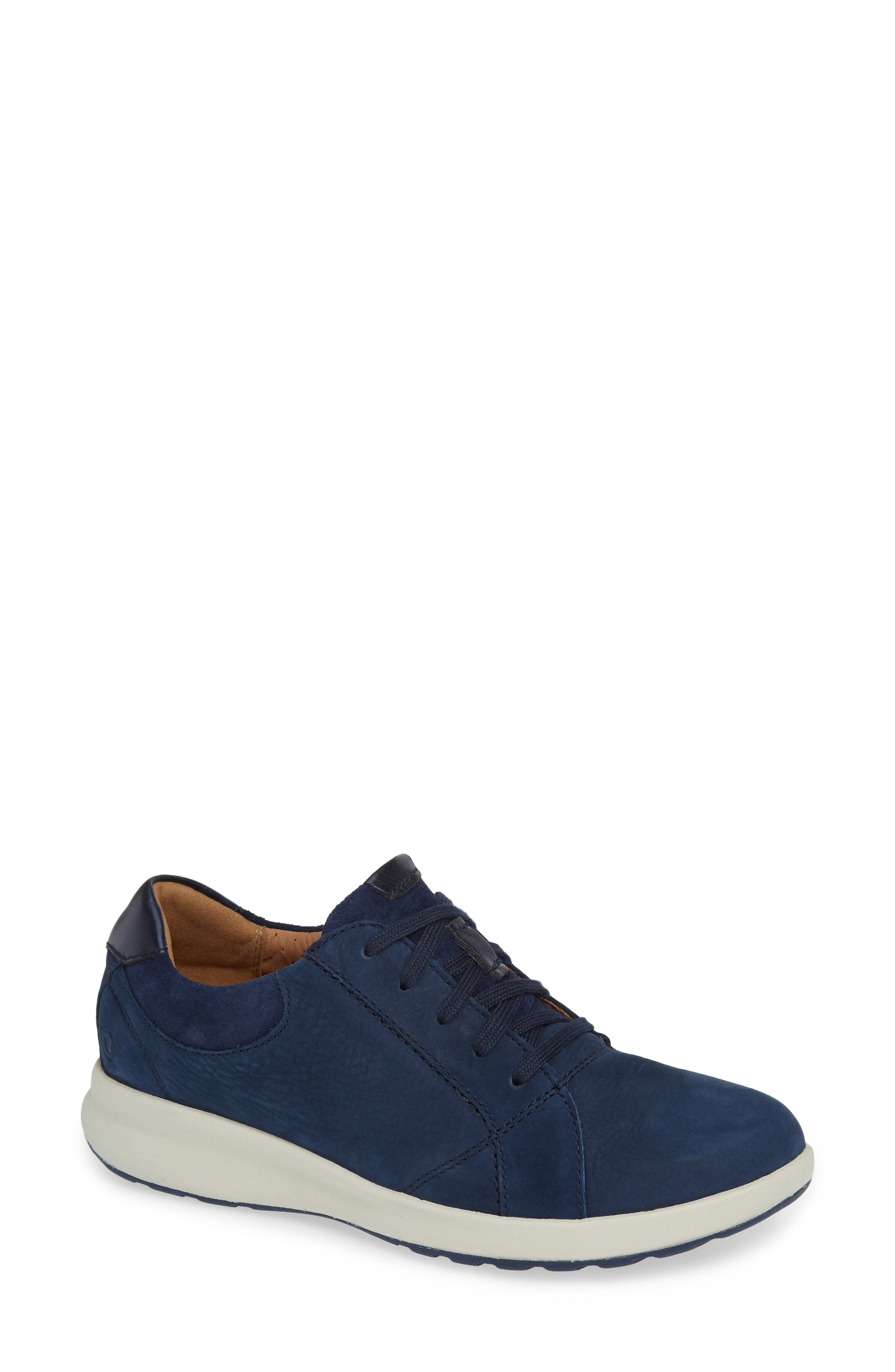UnAdorn Lace-Up Sneaker,                         Main,                         color, NAVY NUBUCK