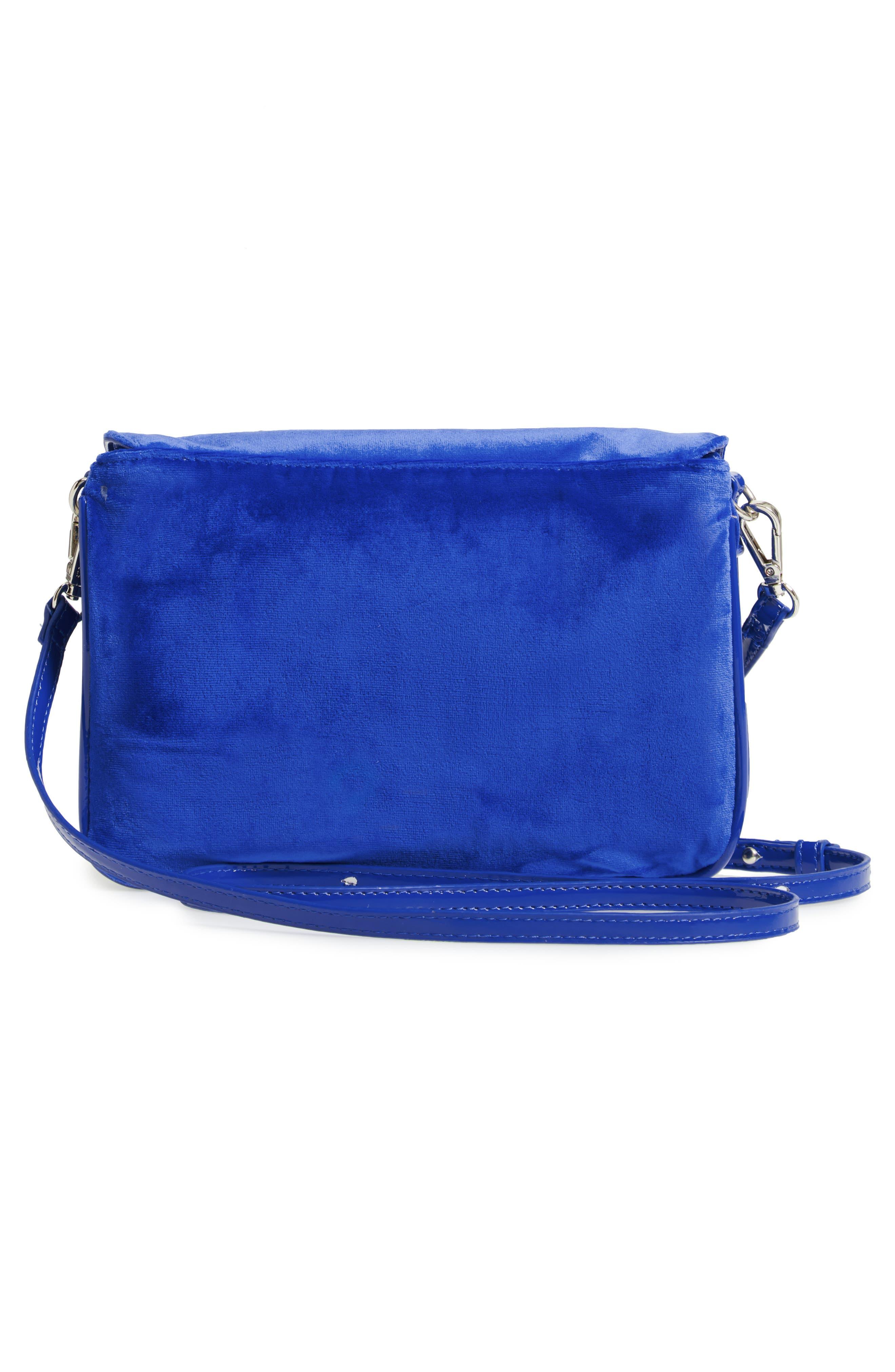 Velvet Crossbody Bag,                             Alternate thumbnail 3, color,                             BLUE