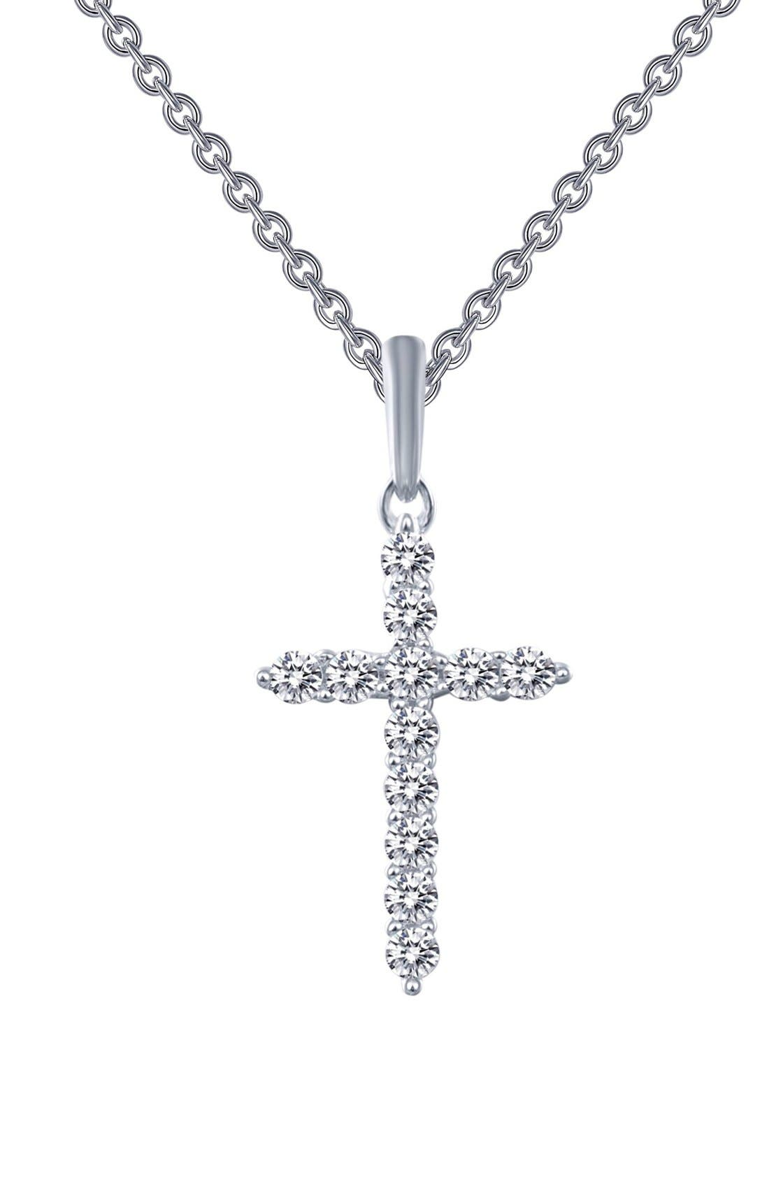 'Lassaire' Cross Pendant Necklace,                             Main thumbnail 1, color,                             SILVER