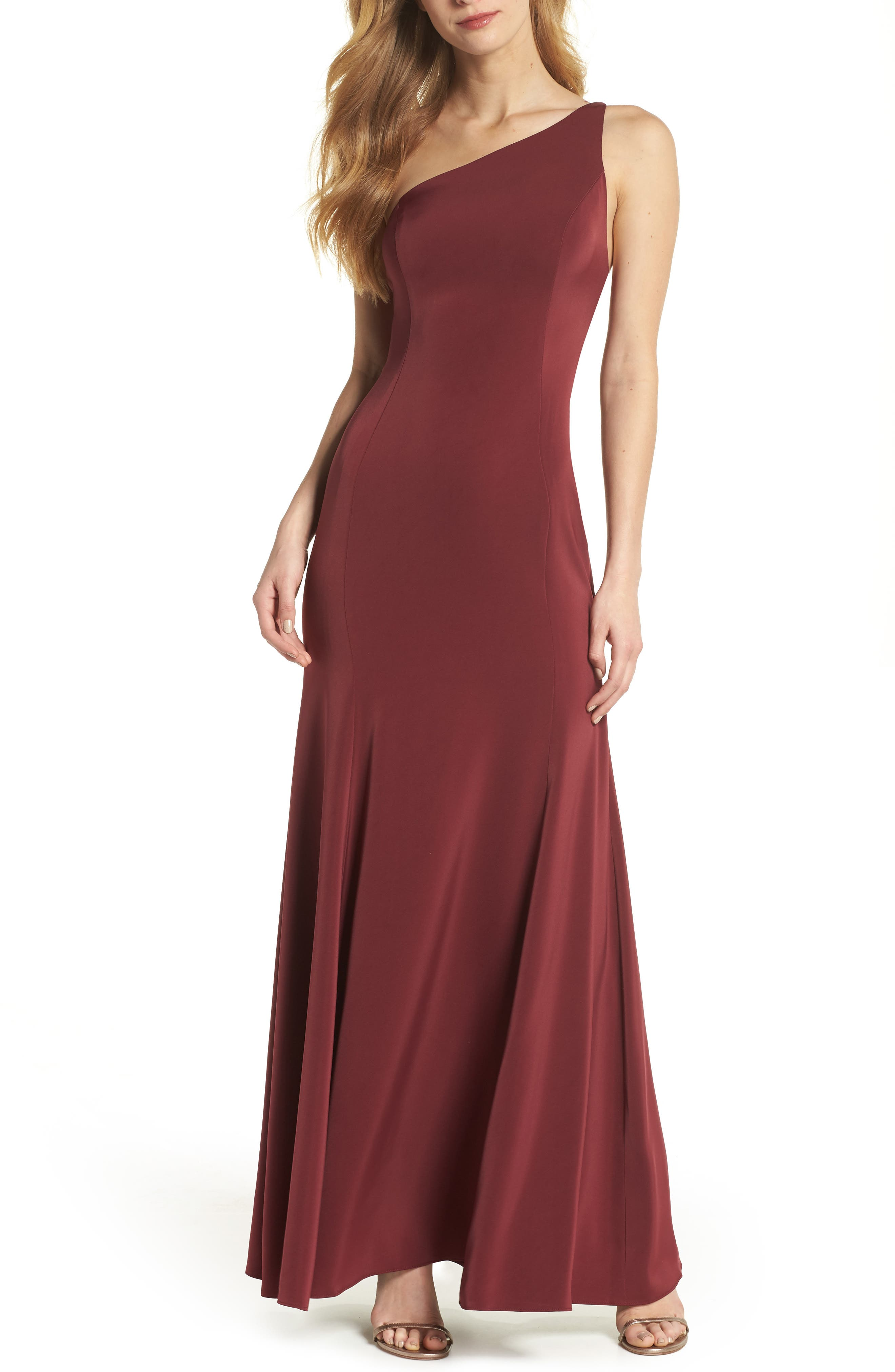 Jelina One-Shoulder Gown,                             Main thumbnail 1, color,                             600