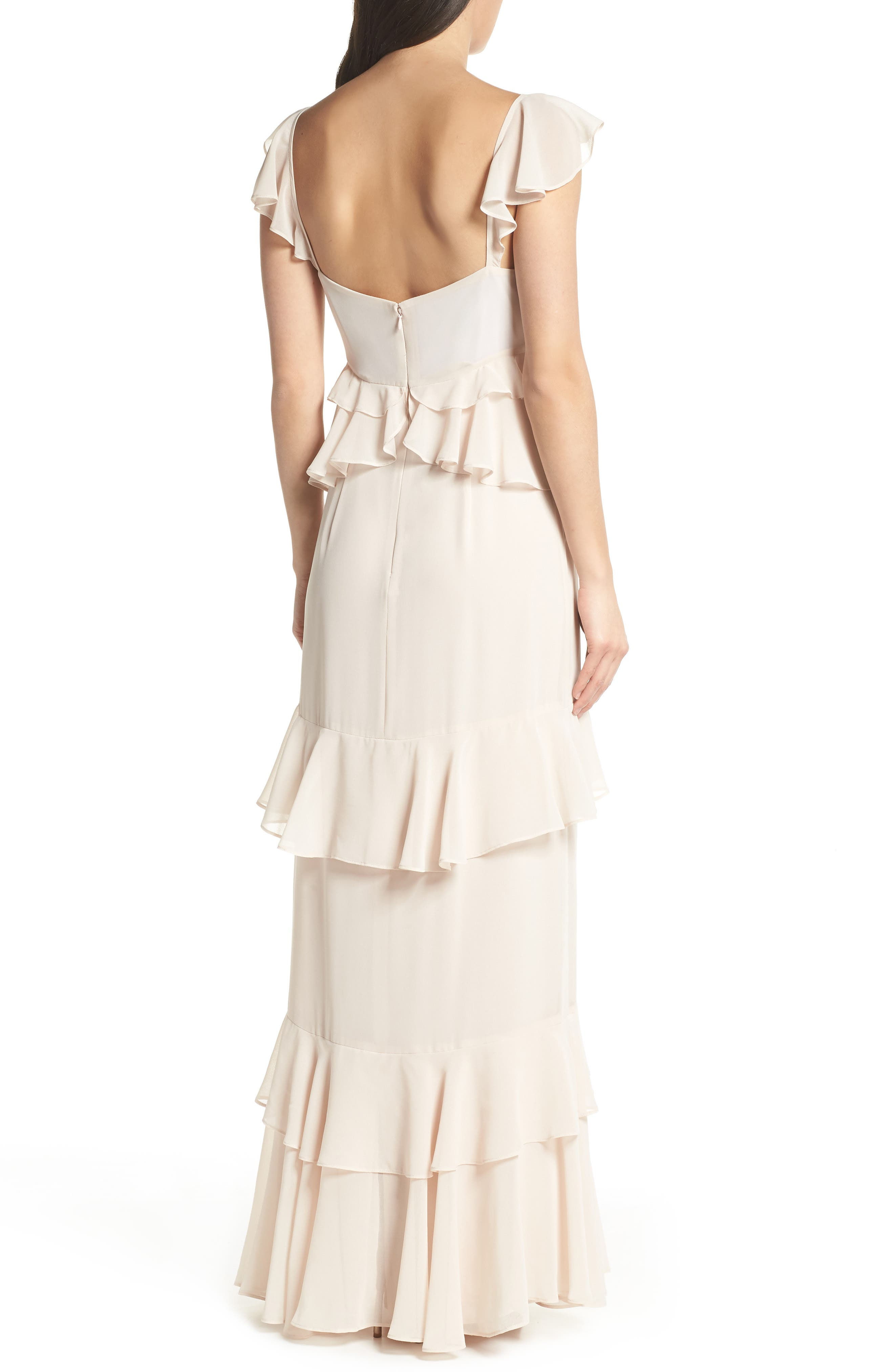 The Gywneth Ruffle Maxi Gown,                             Alternate thumbnail 2, color,                             CHAMPAGNE