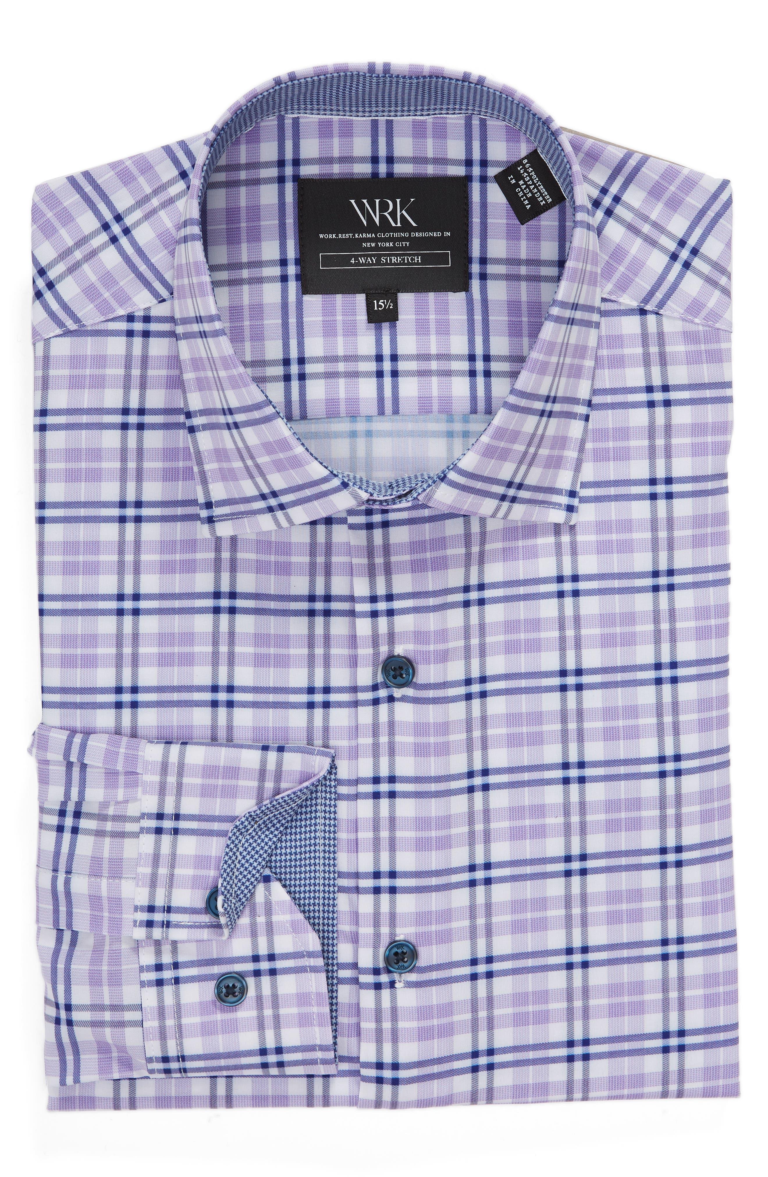 Trim Fit 4-Way Stretch Plaid Dress Shirt,                             Alternate thumbnail 5, color,                             PURPLE
