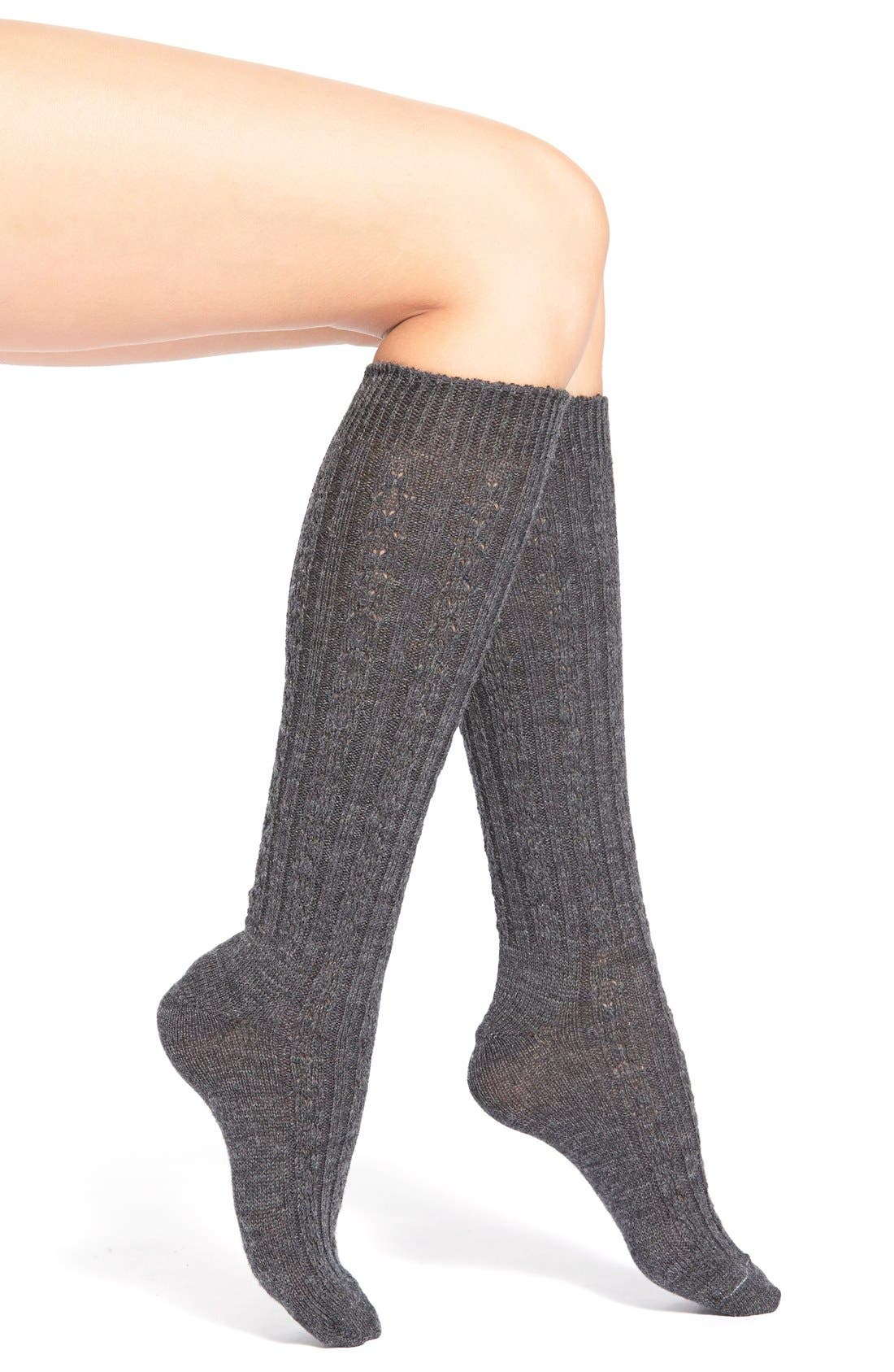 Cable Knit Knee Socks,                             Main thumbnail 2, color,
