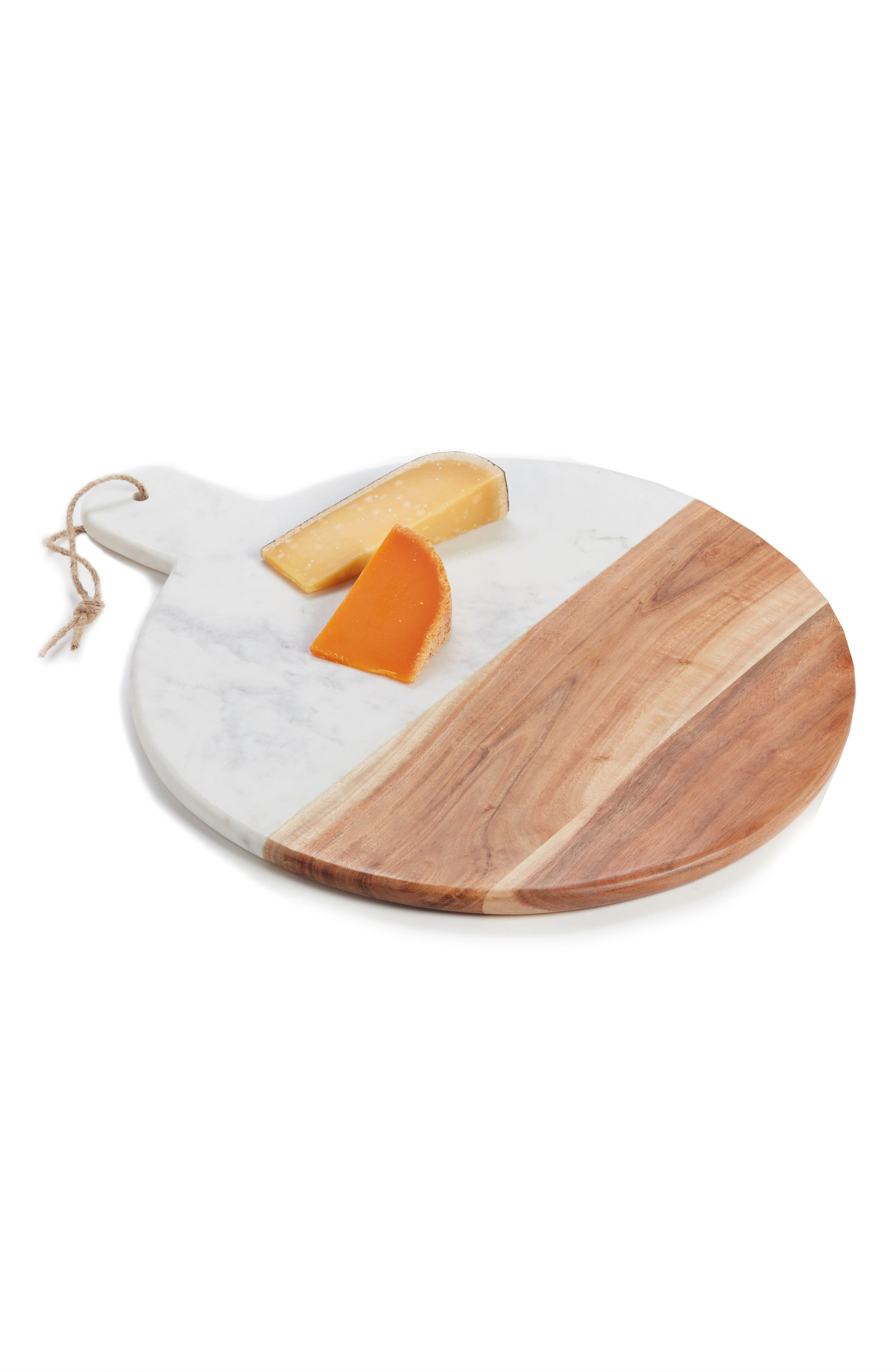 Round Marble & Acacia Wood Serving Board,                             Main thumbnail 1, color,                             WHITE MULTI