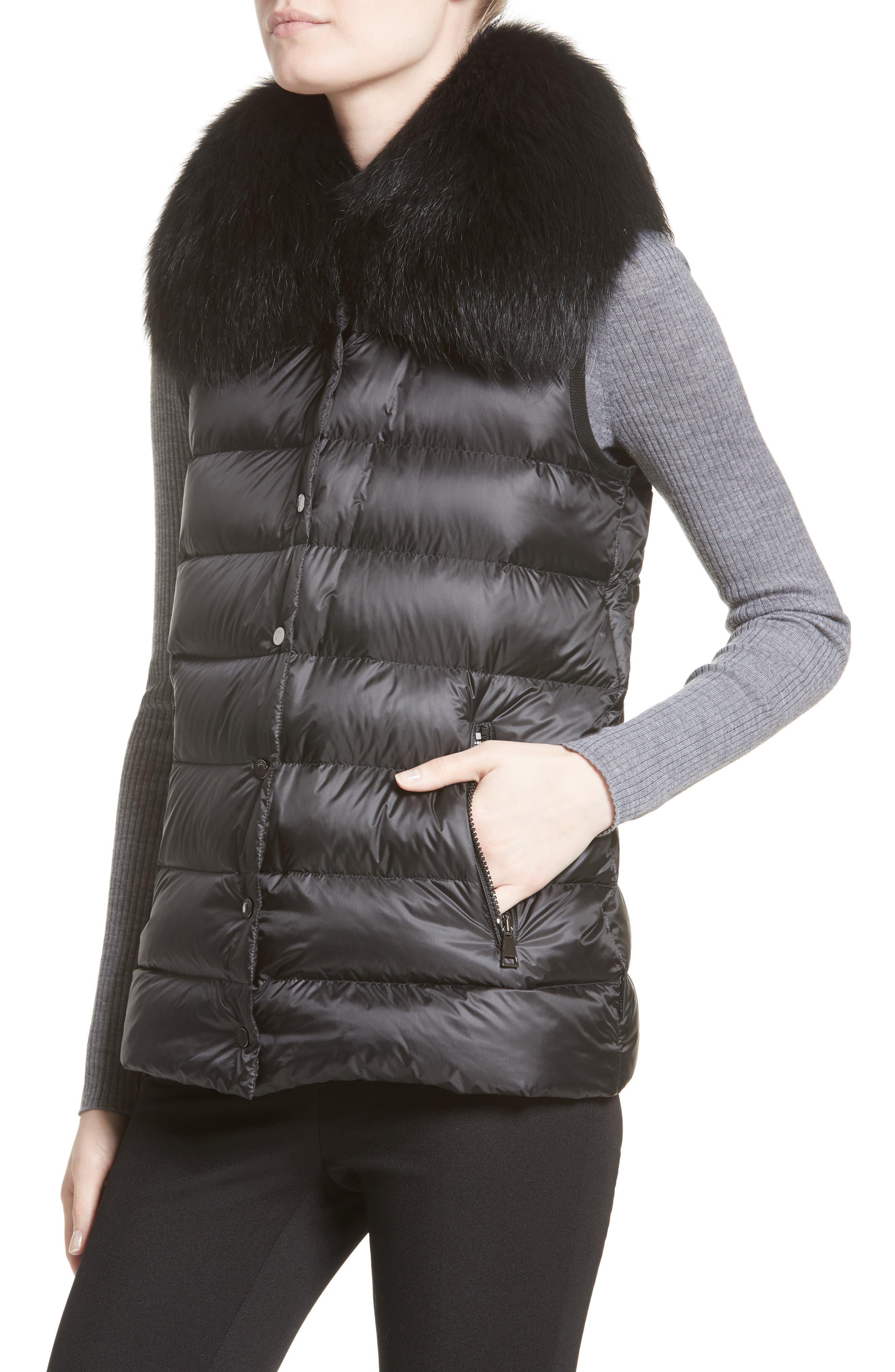 Buxus Wool & Cashmere Coat with Removable Genuine Fox Fur Trim Vest,                             Alternate thumbnail 4, color,                             001