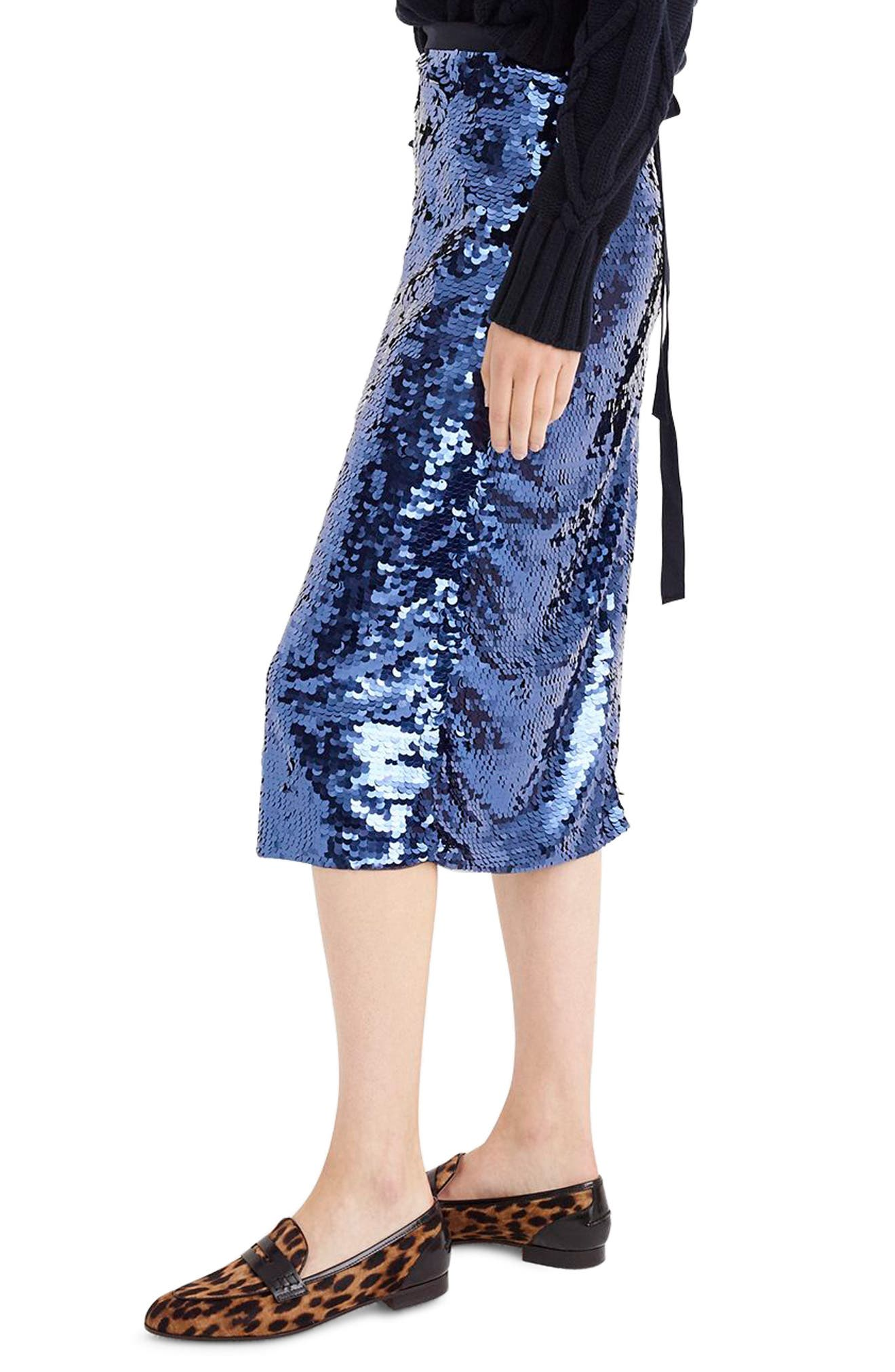 Sequin Midi Skirt with Tie,                             Alternate thumbnail 3, color,                             NAVY