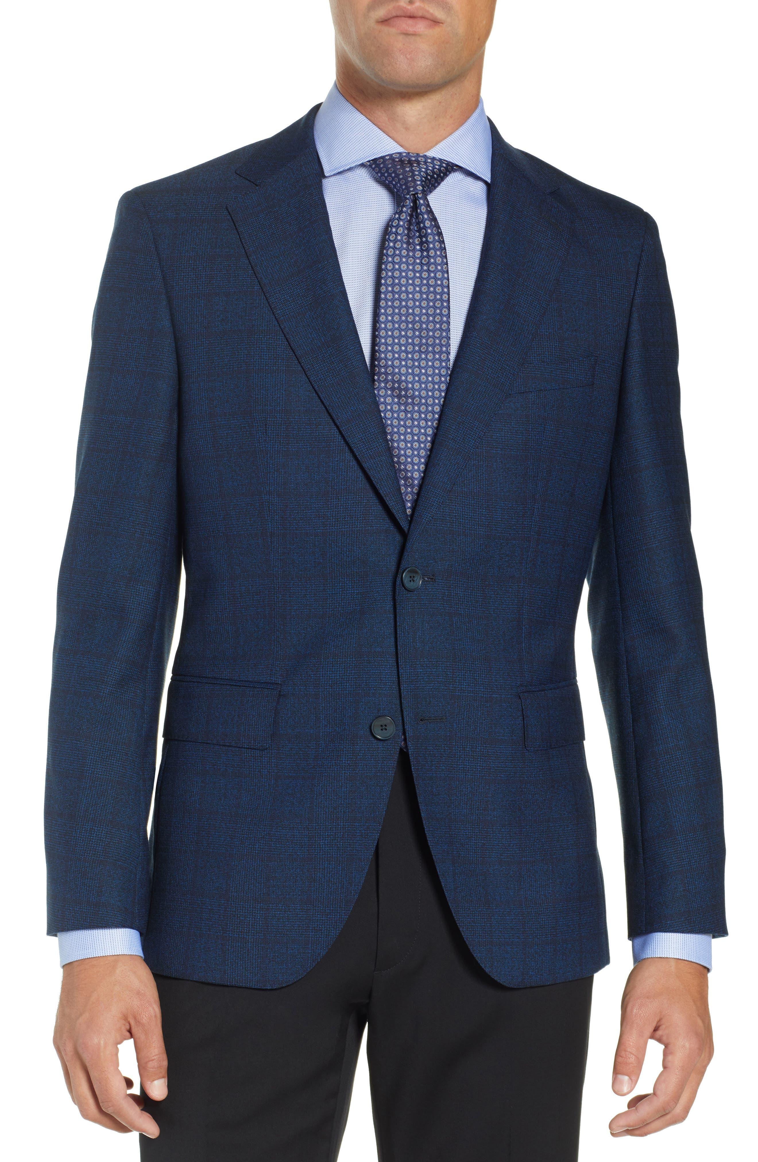 Jewels Classic Fit Plaid Wool Sport Coat,                             Main thumbnail 1, color,                             DARK BLUE