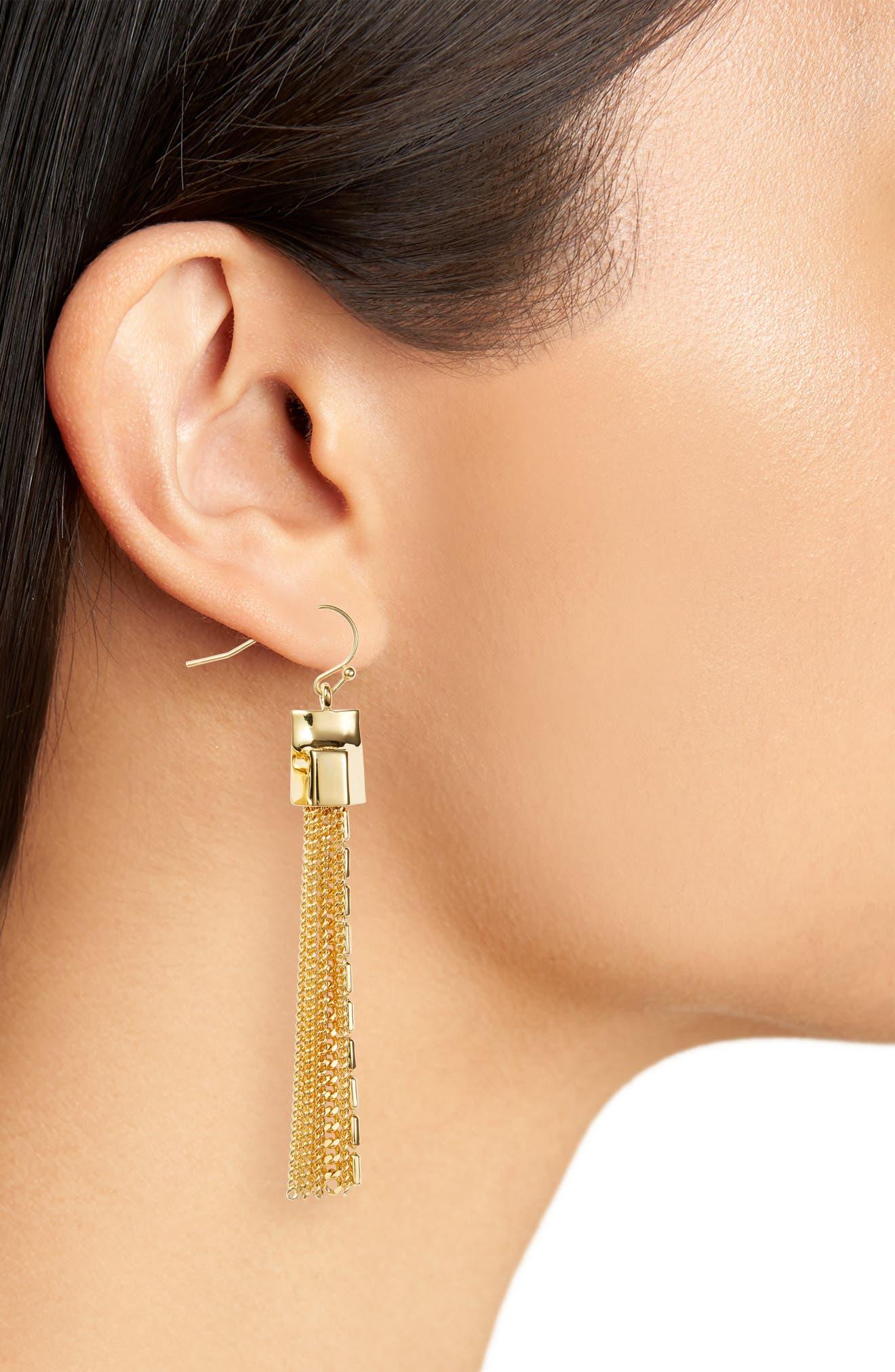 Mix Chain Tassel Drop Earrings,                             Alternate thumbnail 4, color,