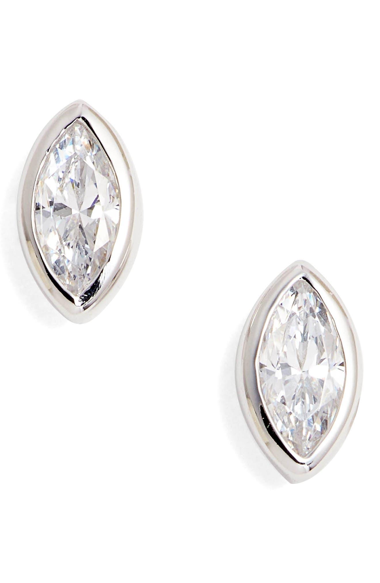 Bezel-Set Marquise-Cut Stud Earrings,                         Main,                         color, SILVER/ CLEAR