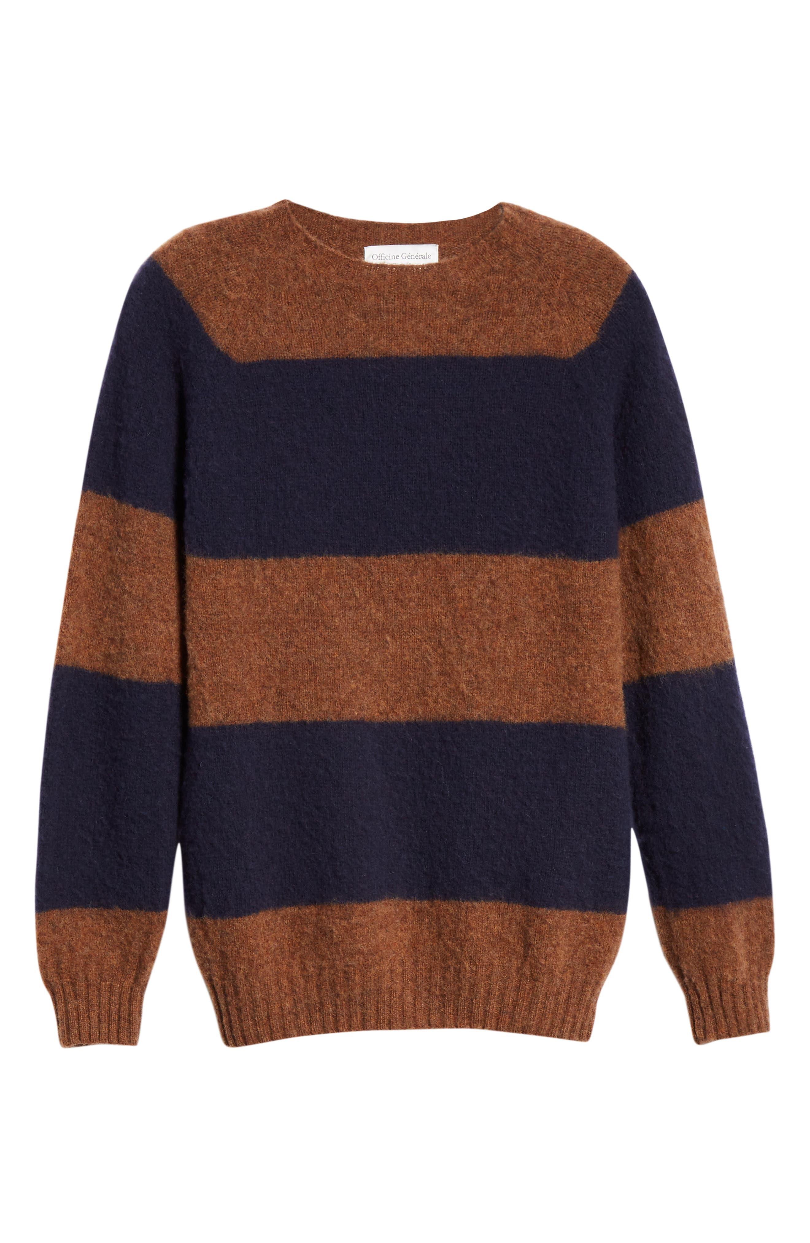 Officine Générale Stripe Wool Crew Sweater,                             Alternate thumbnail 6, color,                             411