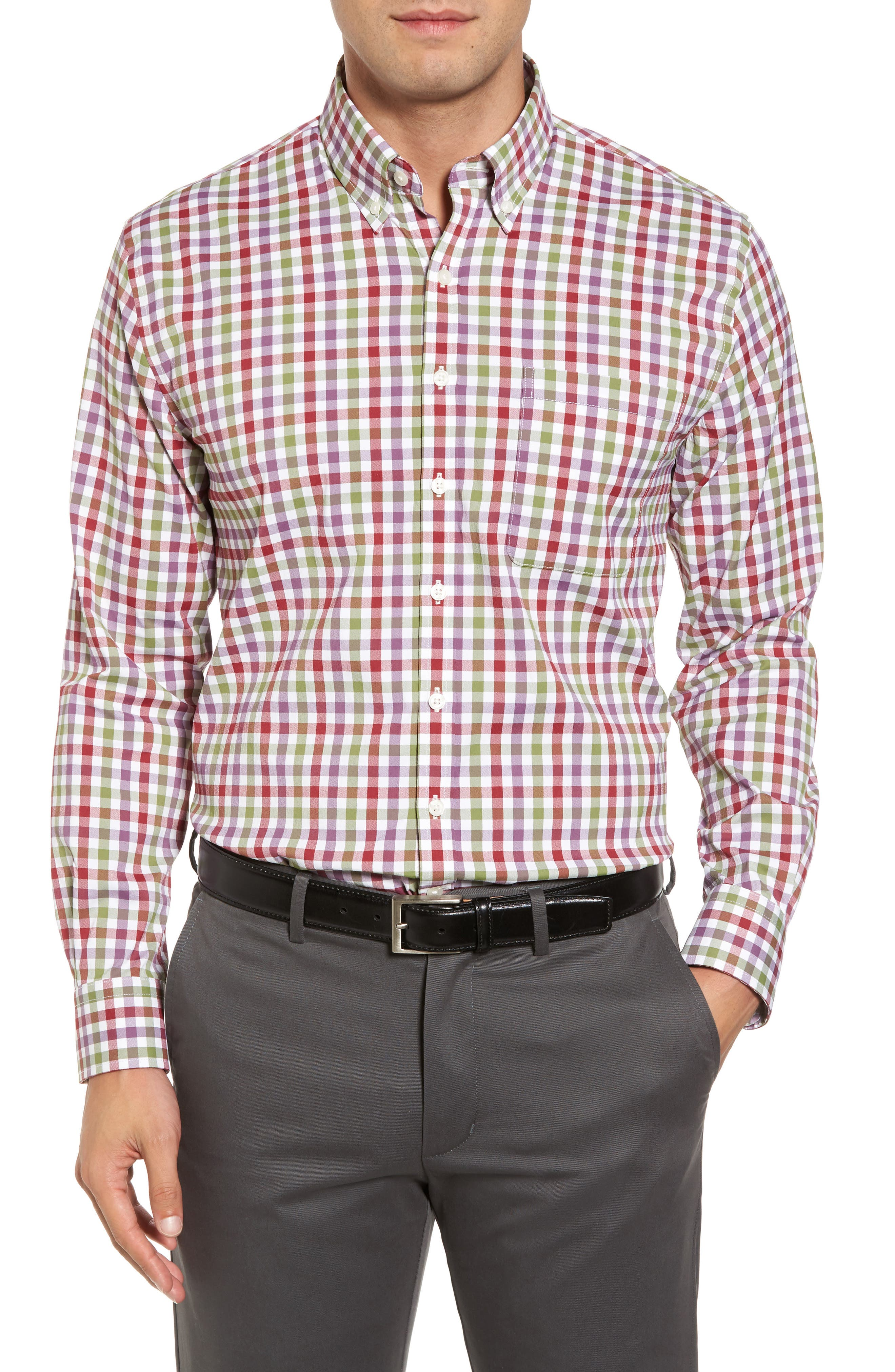 Autumn Check Easy Care Sport Shirt,                             Main thumbnail 1, color,