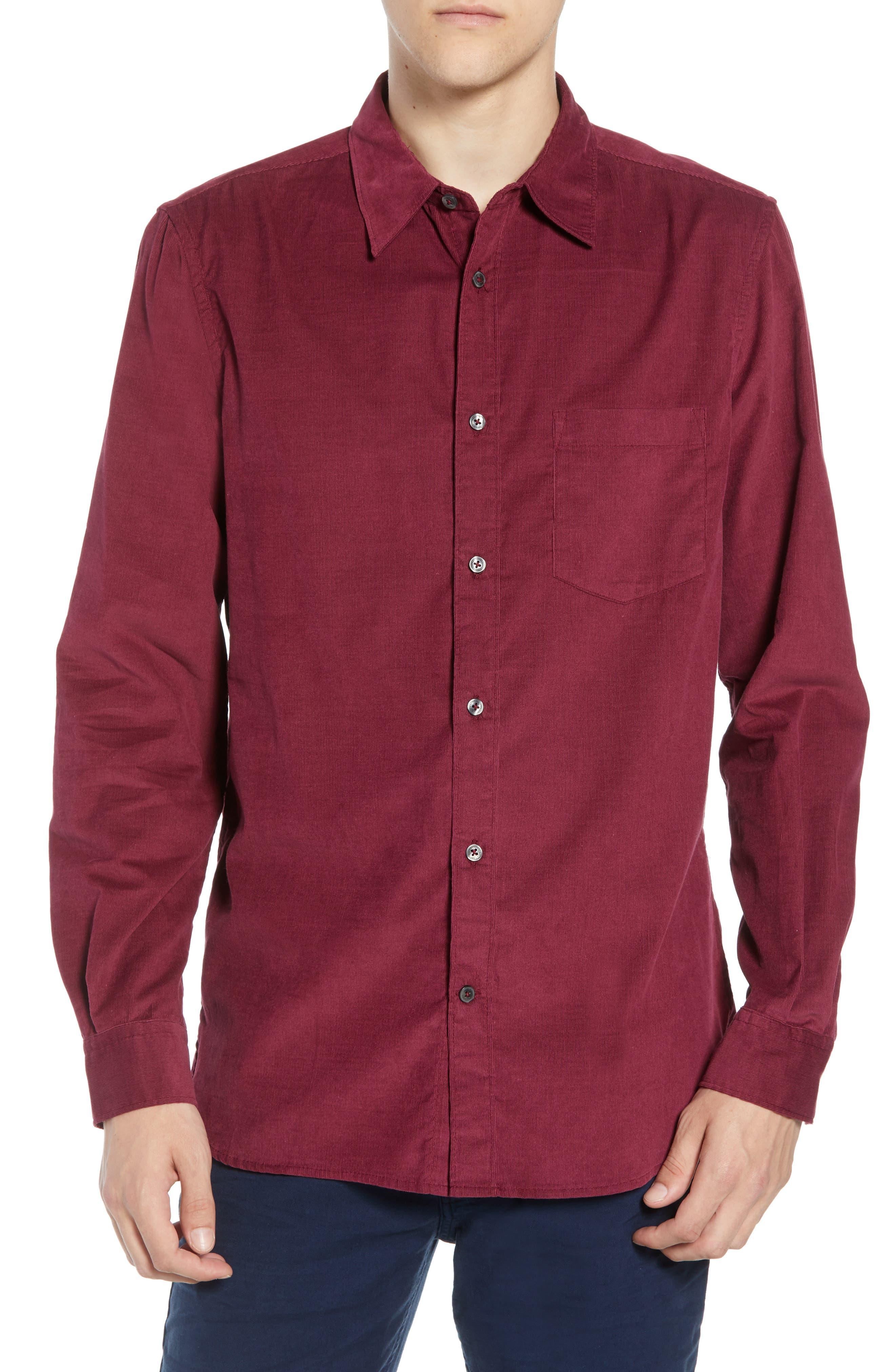 28 Wales Regular Fit Corduroy Shirt,                             Main thumbnail 1, color,                             RASPBERRY BERET