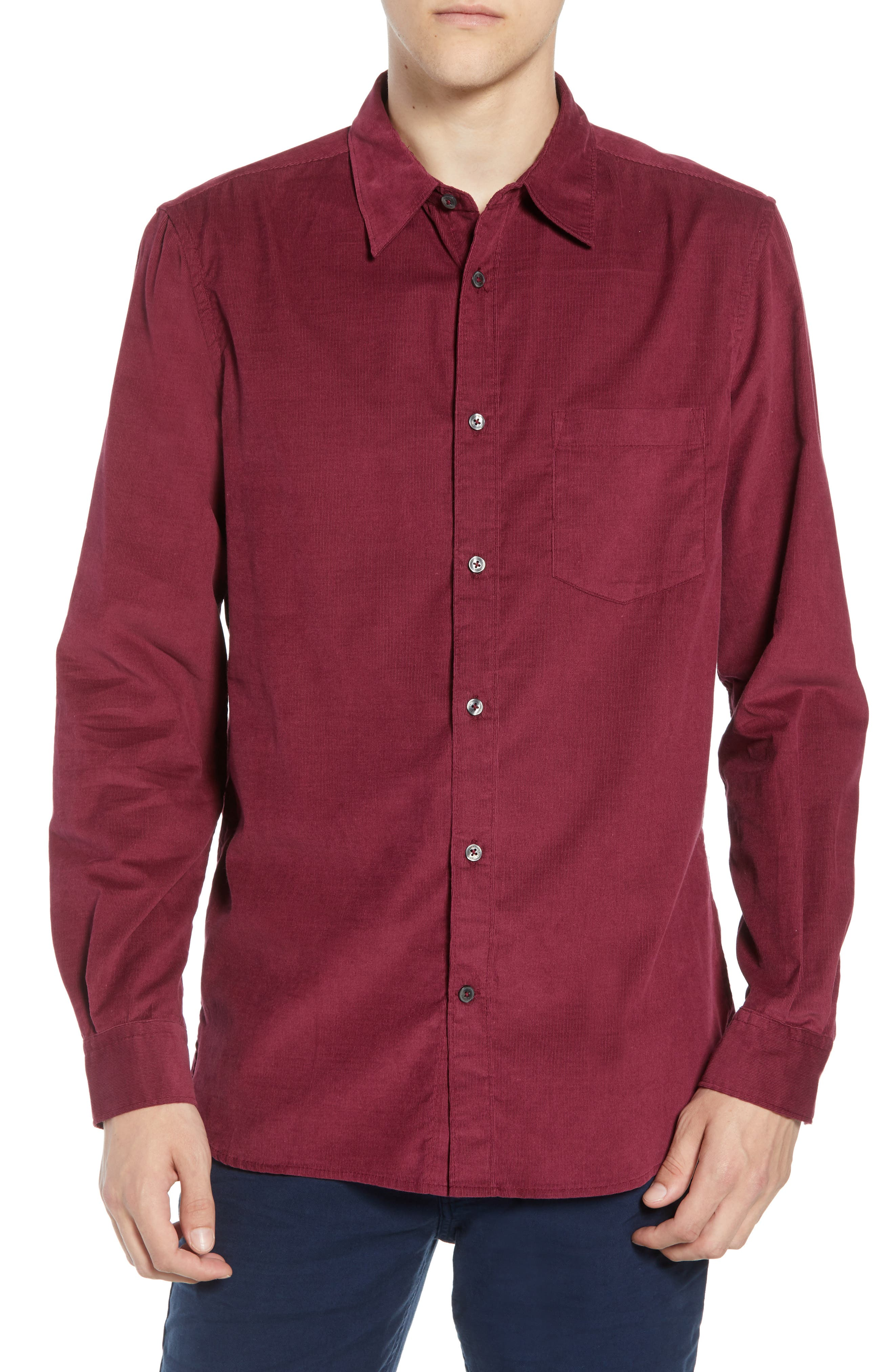 28 Wales Regular Fit Corduroy Shirt,                         Main,                         color, RASPBERRY BERET