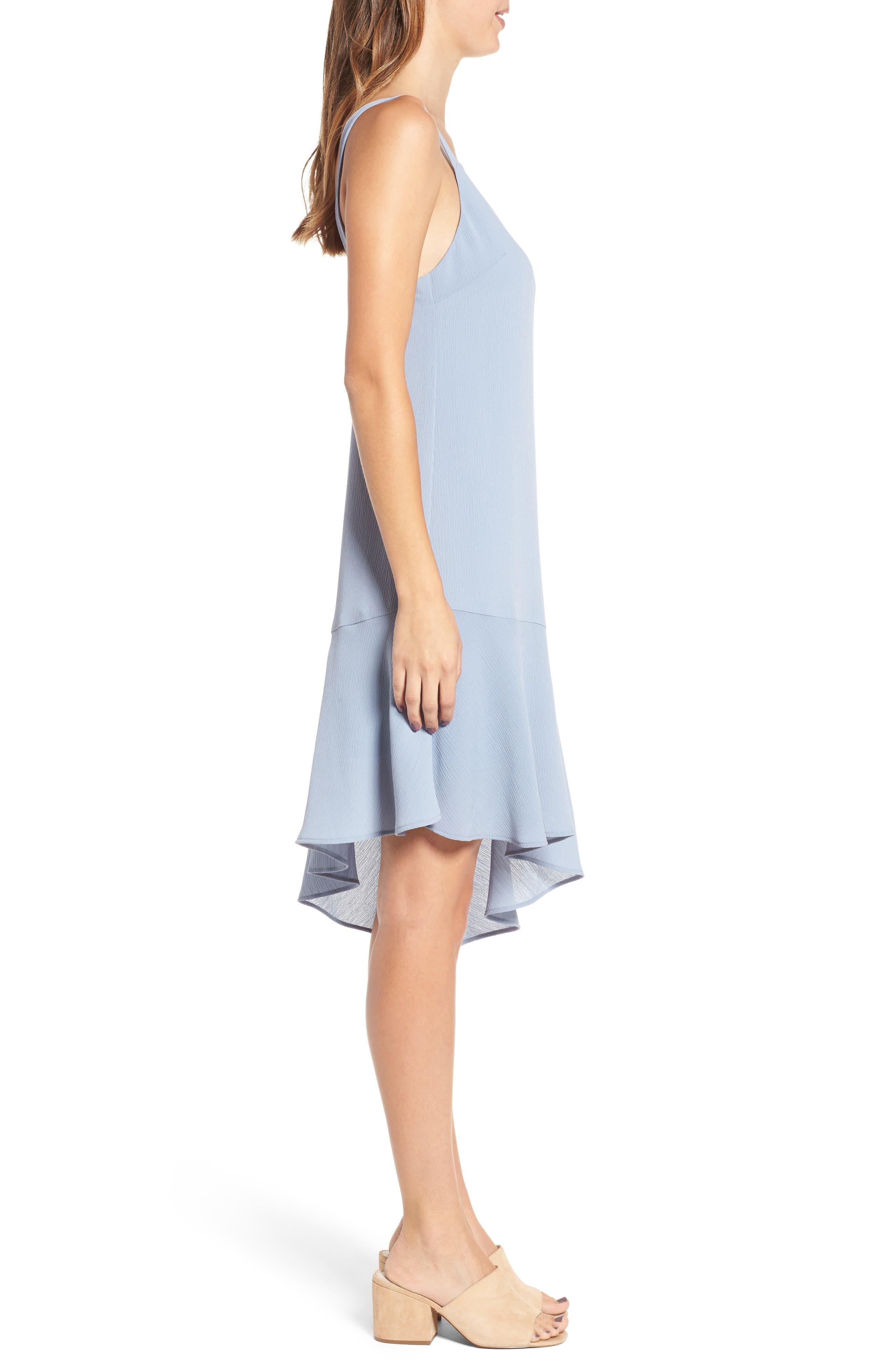 Asymmetrical Ruffle Hem Dress,                             Alternate thumbnail 3, color,                             400