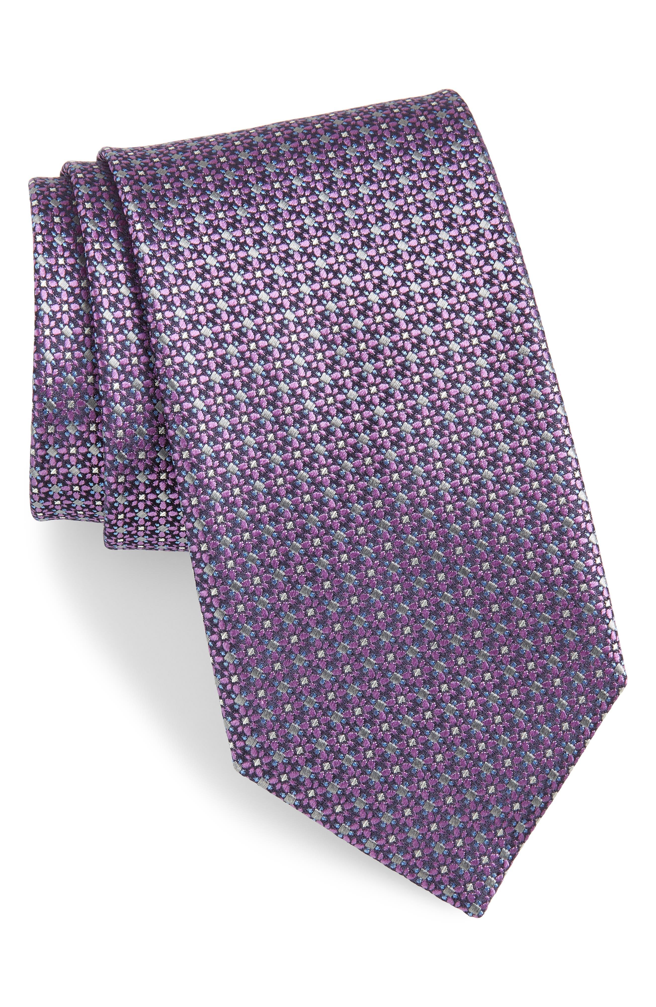 Floral Silk Tie,                         Main,                         color, PINK