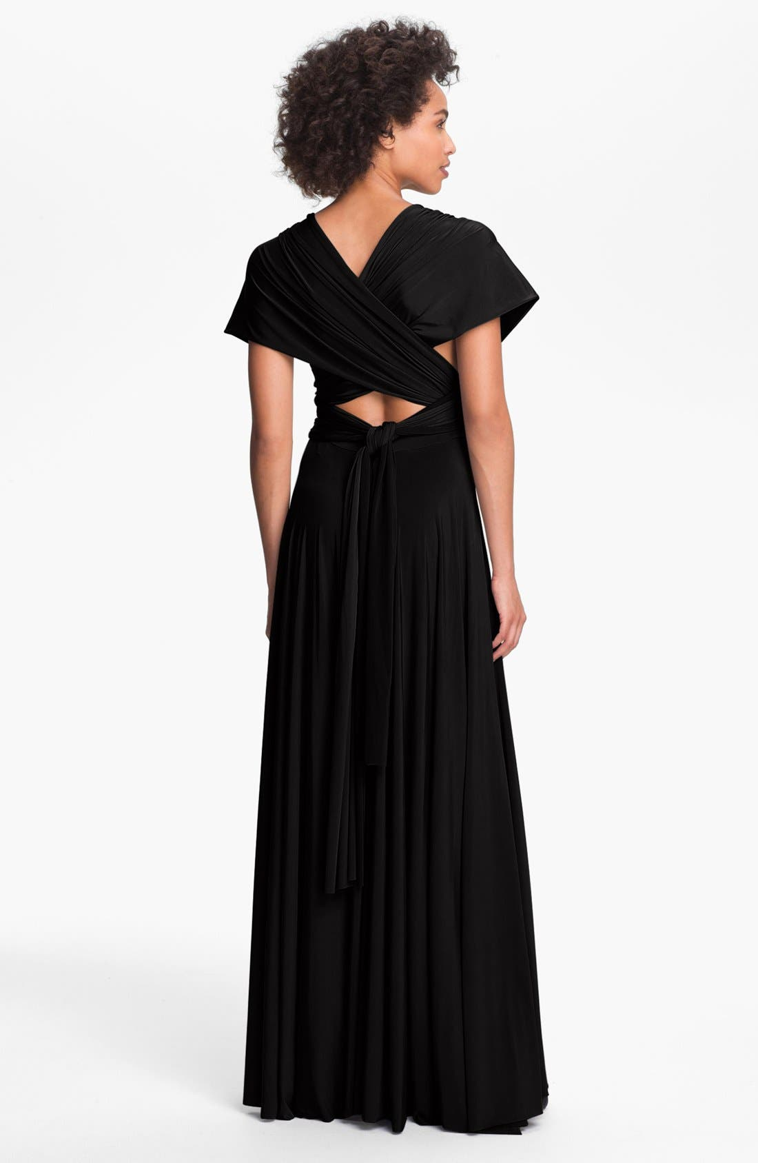 TWOBIRDS BRIDESMAID,                             twobirds Convertible Jersey Gown,                             Alternate thumbnail 3, color,                             001