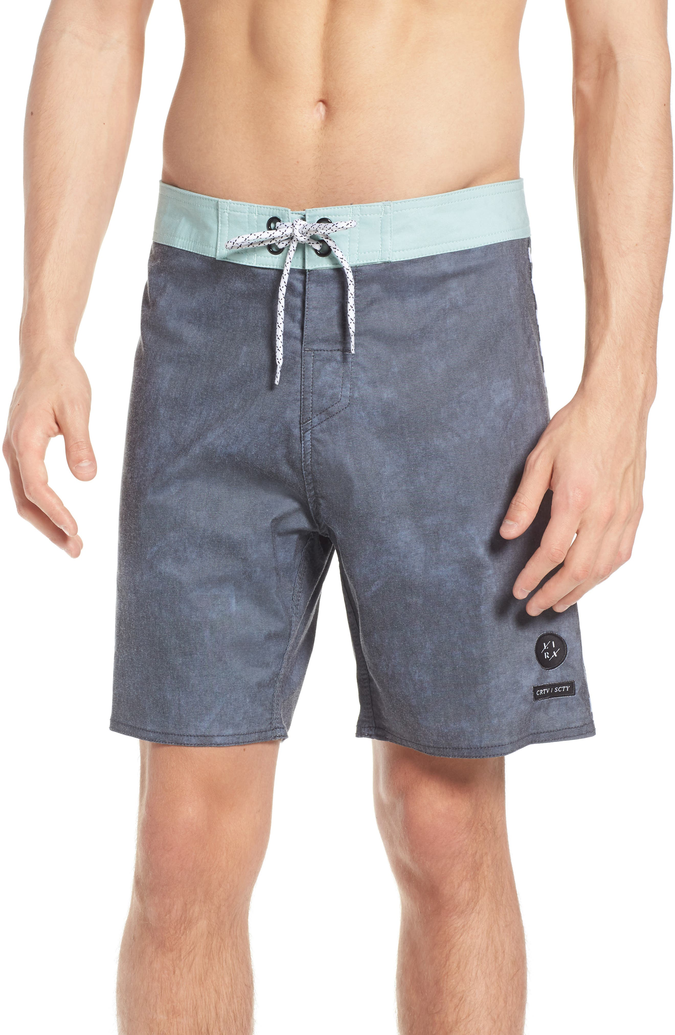 Side Check Board Shorts,                             Main thumbnail 1, color,                             BLACK