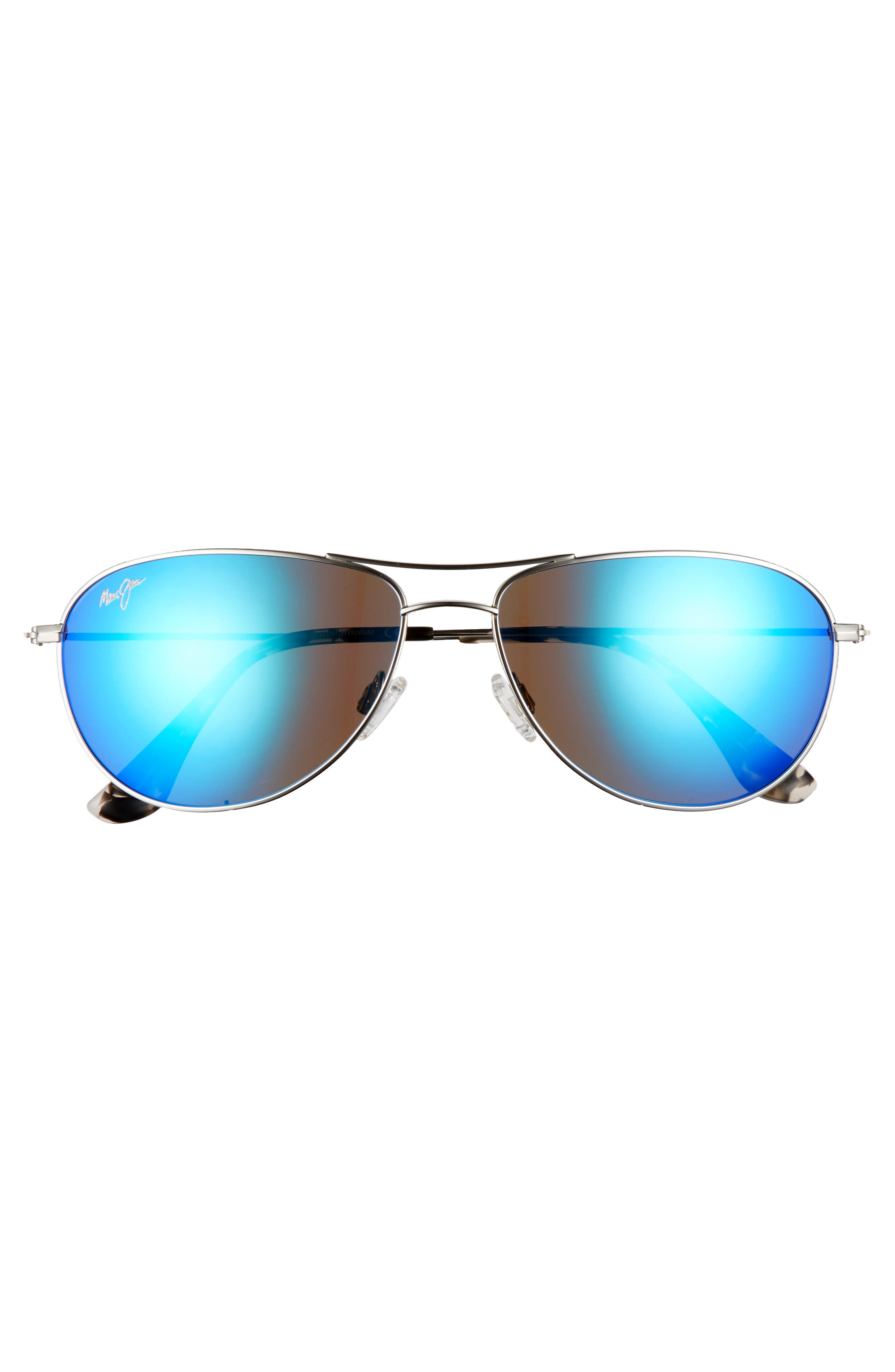 Sea House 60mm Polarized Titanium Aviator Sunglasses,                             Alternate thumbnail 3, color,                             SILVER/ BLUE HAWAII