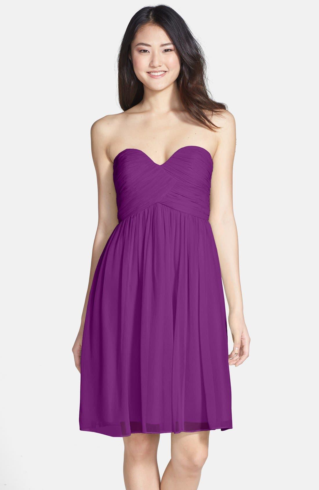 'Morgan' Strapless Silk Chiffon Dress,                             Main thumbnail 24, color,