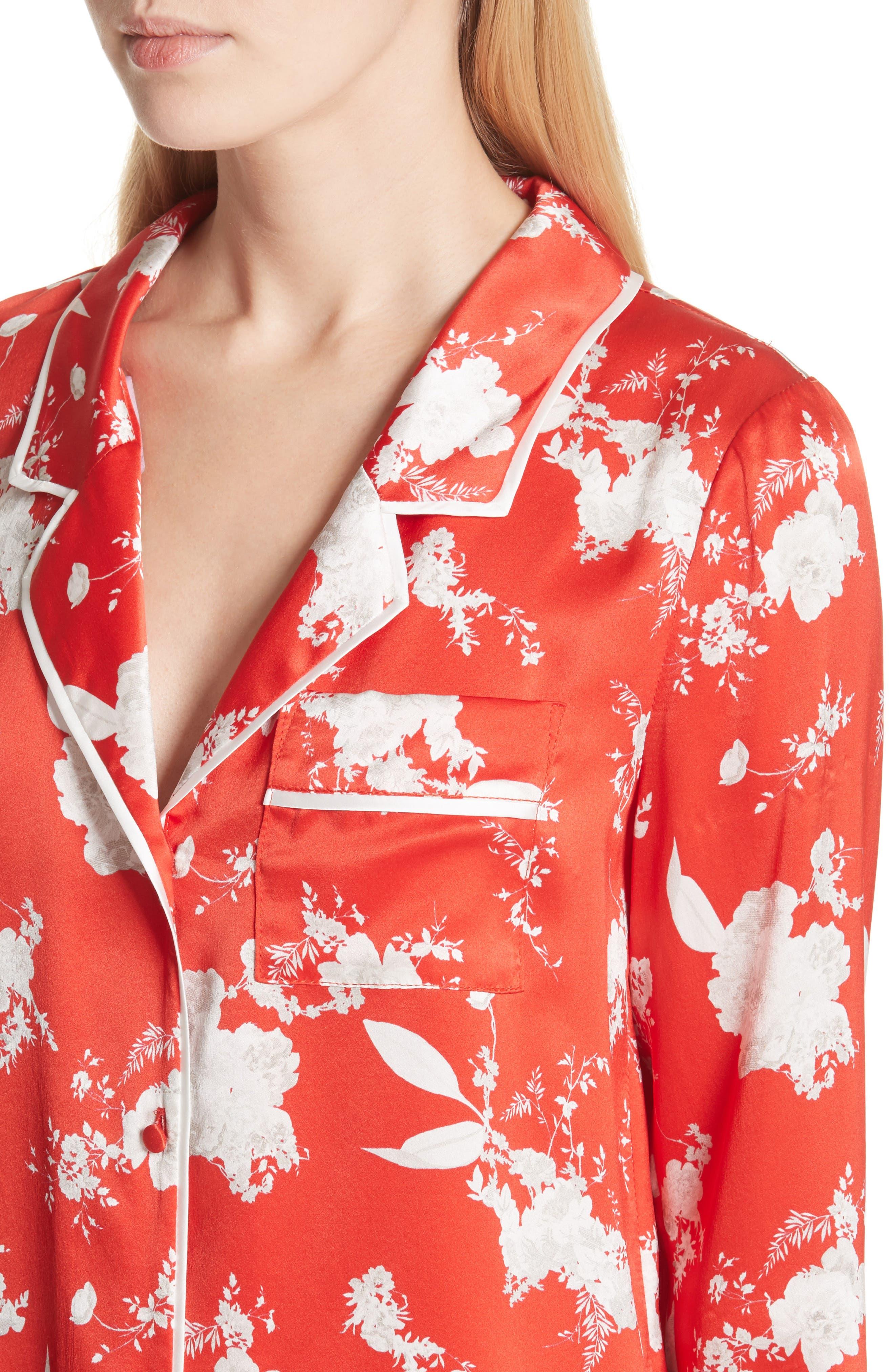 Keir Floral Silk Pajama Shirt,                             Alternate thumbnail 4, color,                             606