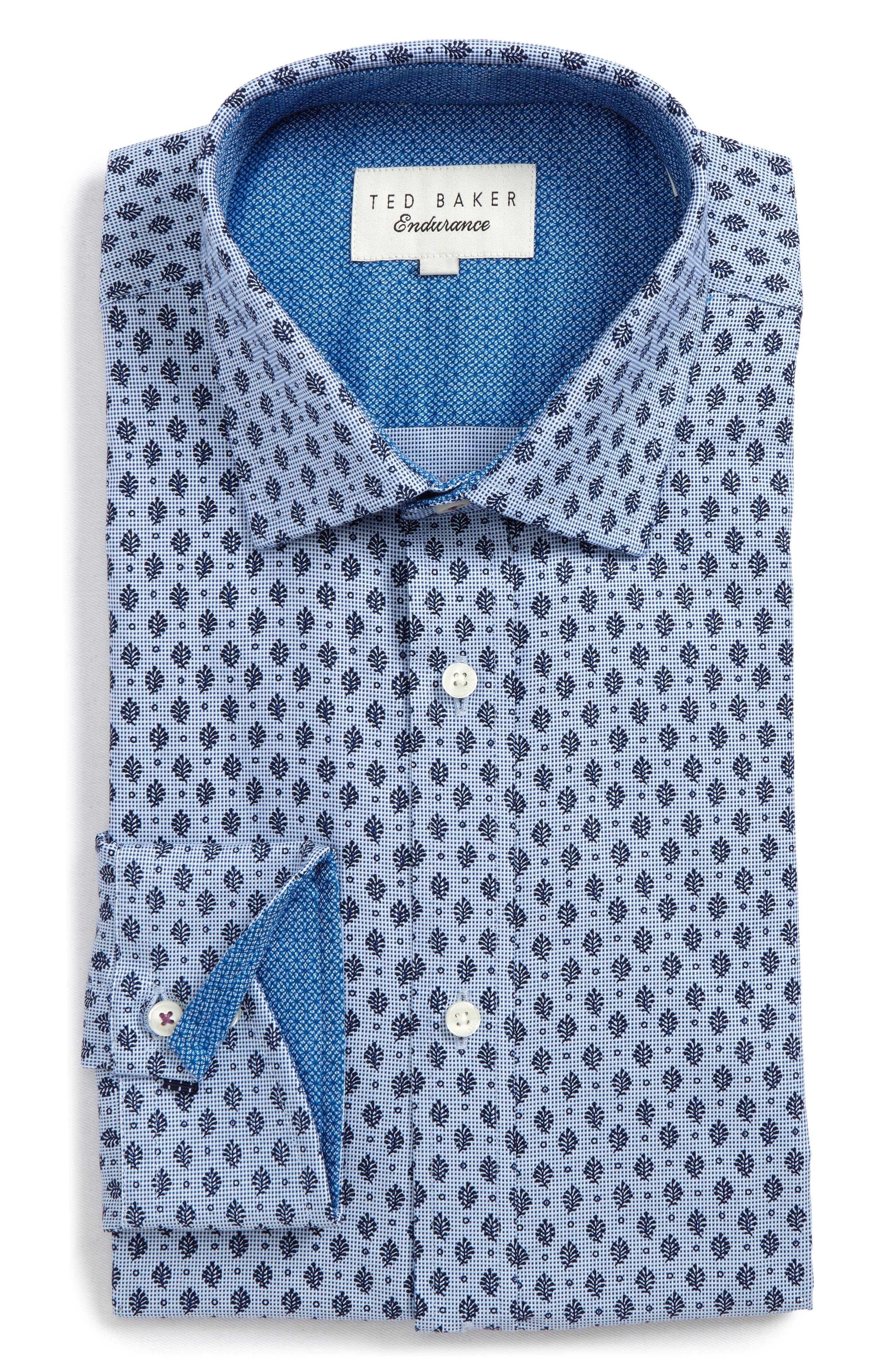 Endurance Begbie Trim Fit Print Dress Shirt,                             Main thumbnail 1, color,                             BLUE