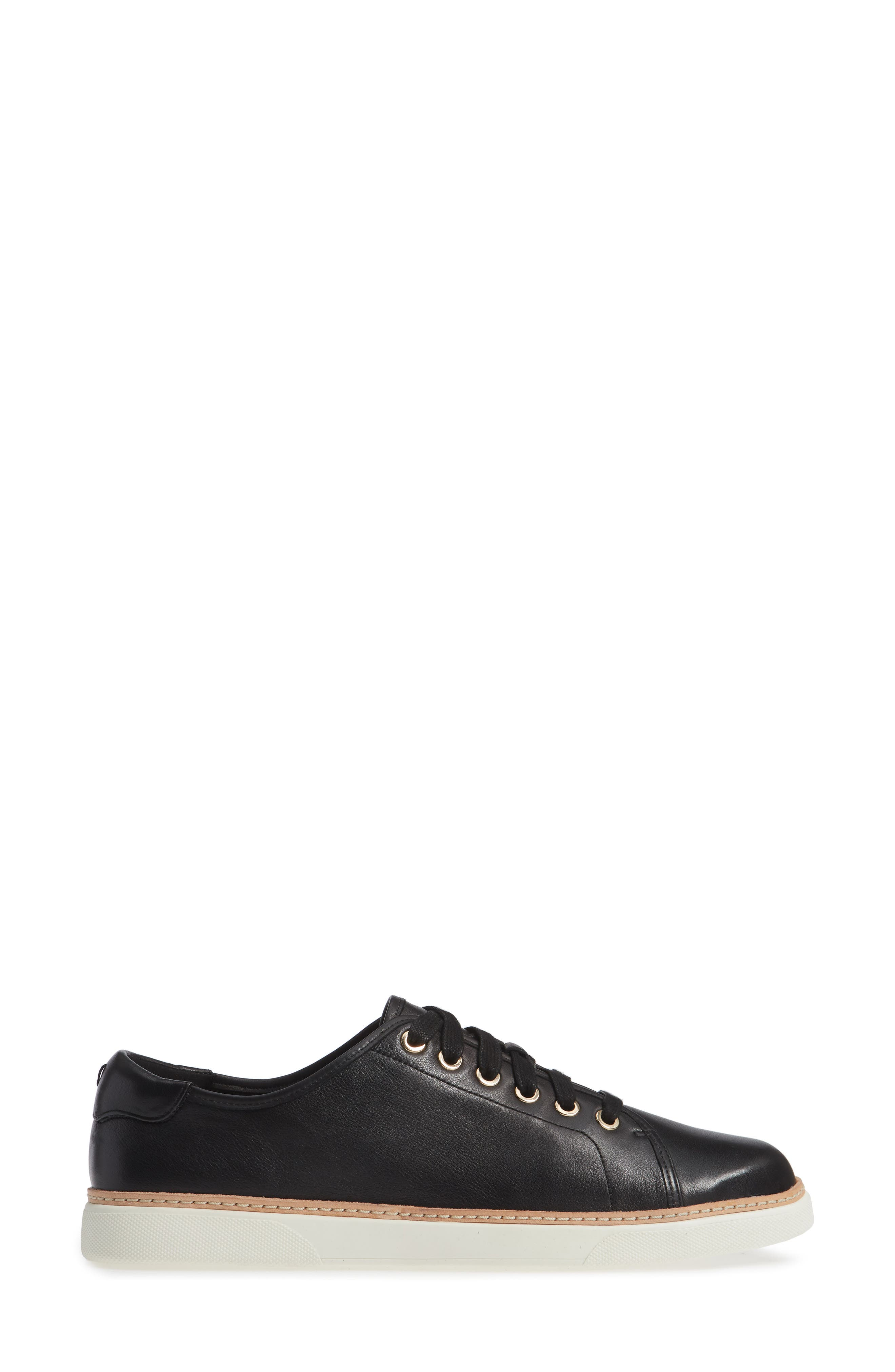 Leah Sneaker,                             Alternate thumbnail 3, color,                             BLACK LEATHER