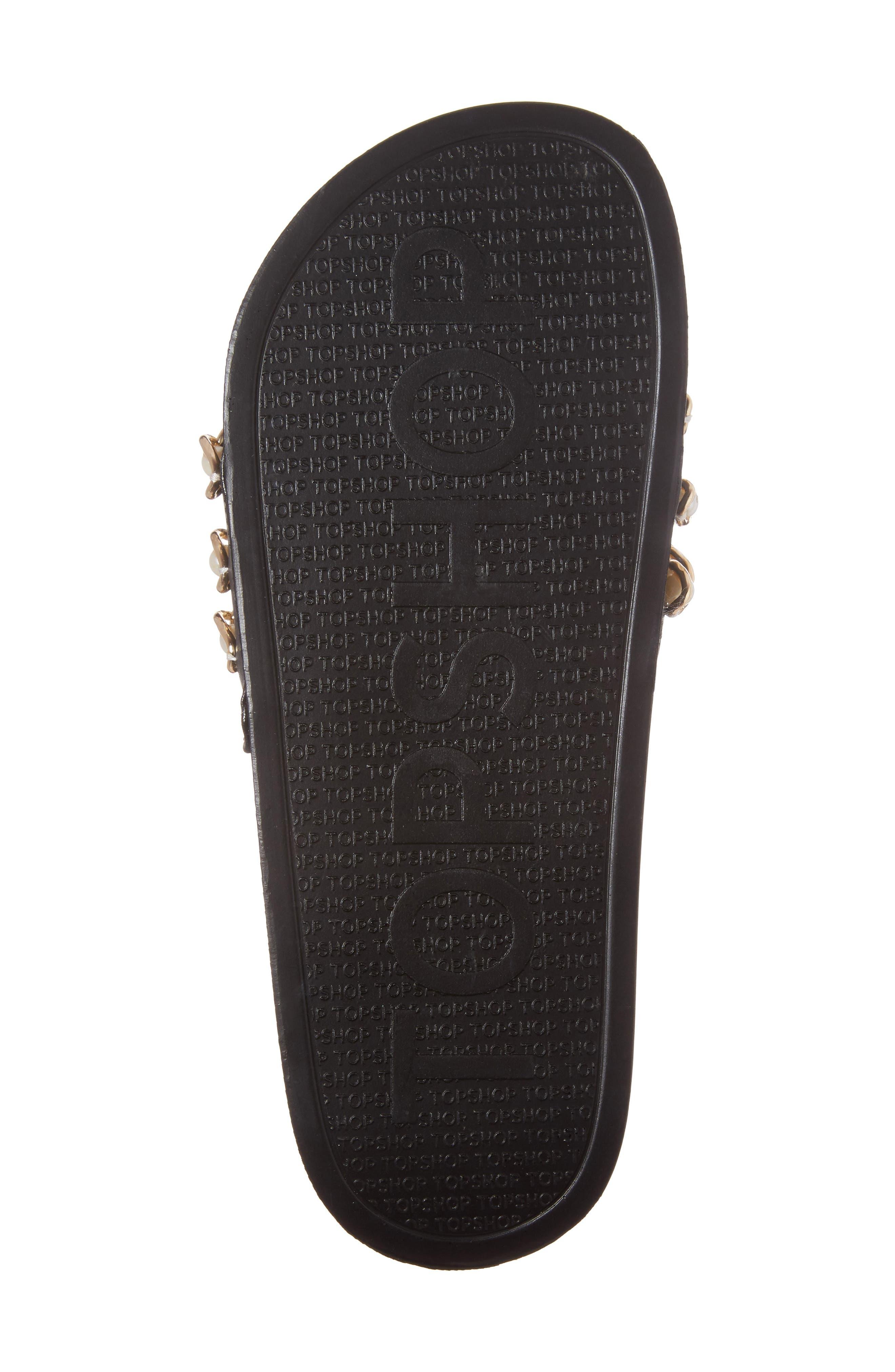 Hottie Pearl Chain Slide Sandal,                             Alternate thumbnail 6, color,                             001