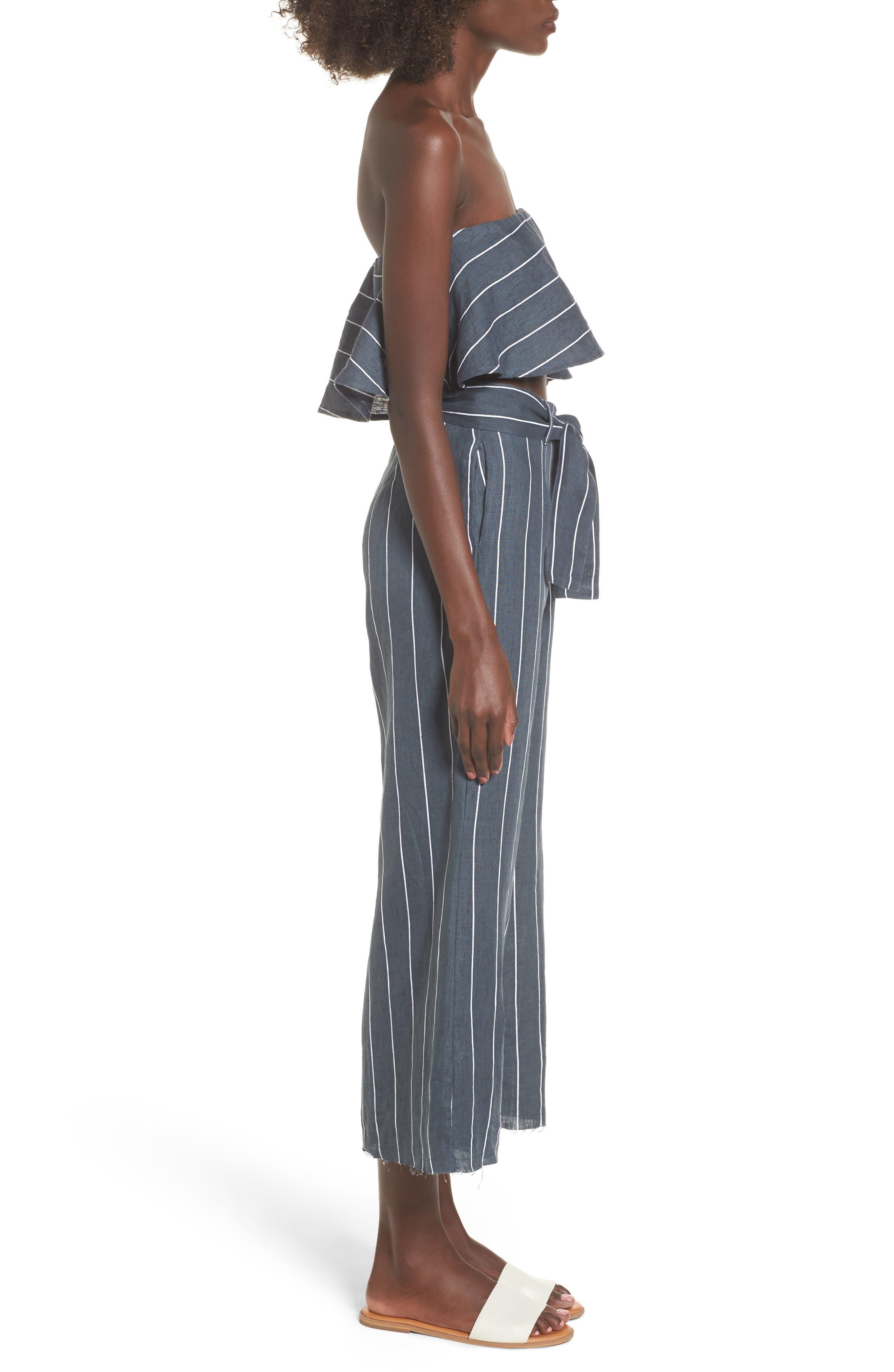Como Pinstripe Wide Leg Crop Linen Pants,                             Alternate thumbnail 9, color,                             CHARCOAL