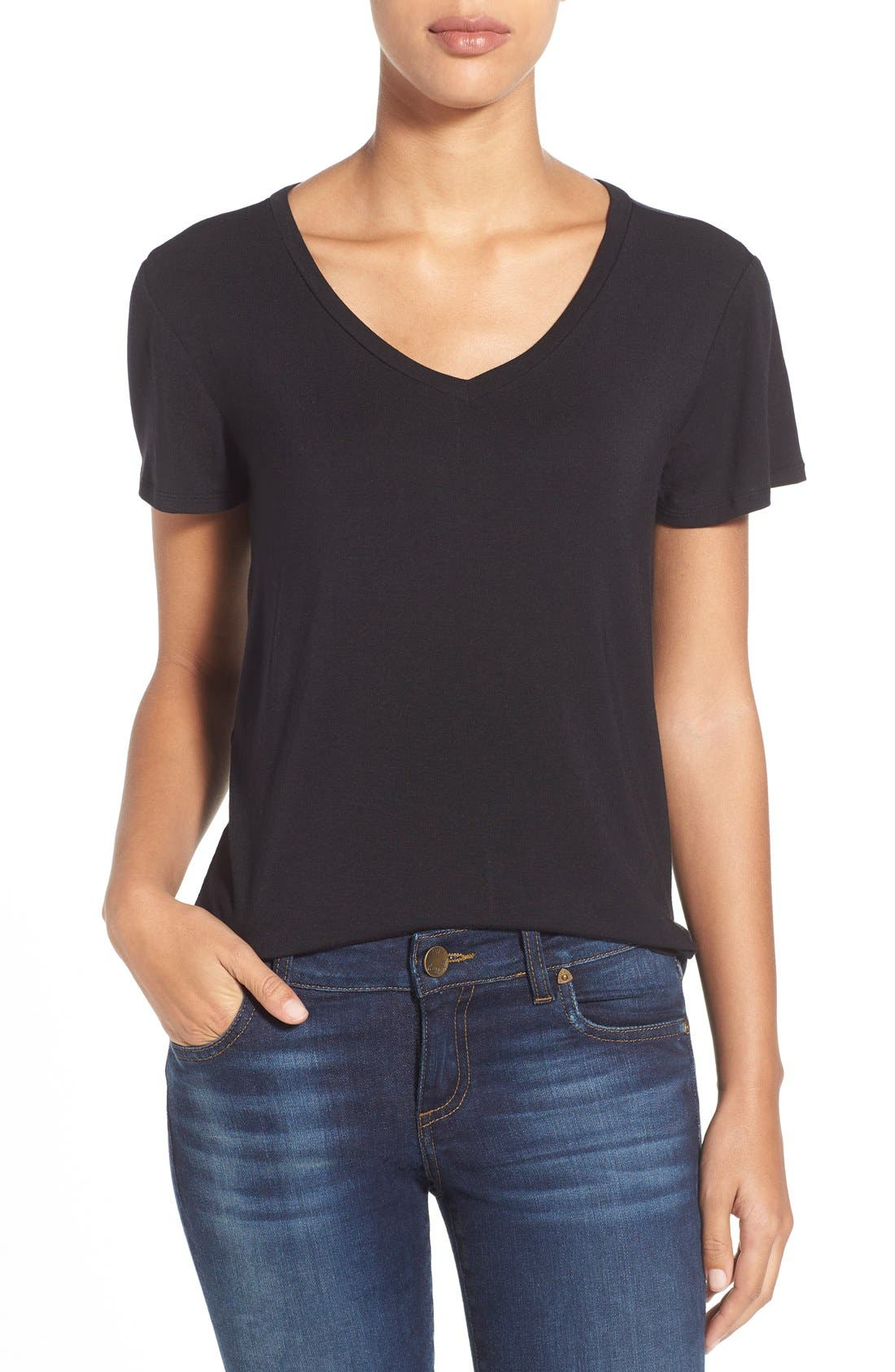 Modal Jersey V-Neck Tee,                             Main thumbnail 1, color,                             BLACK