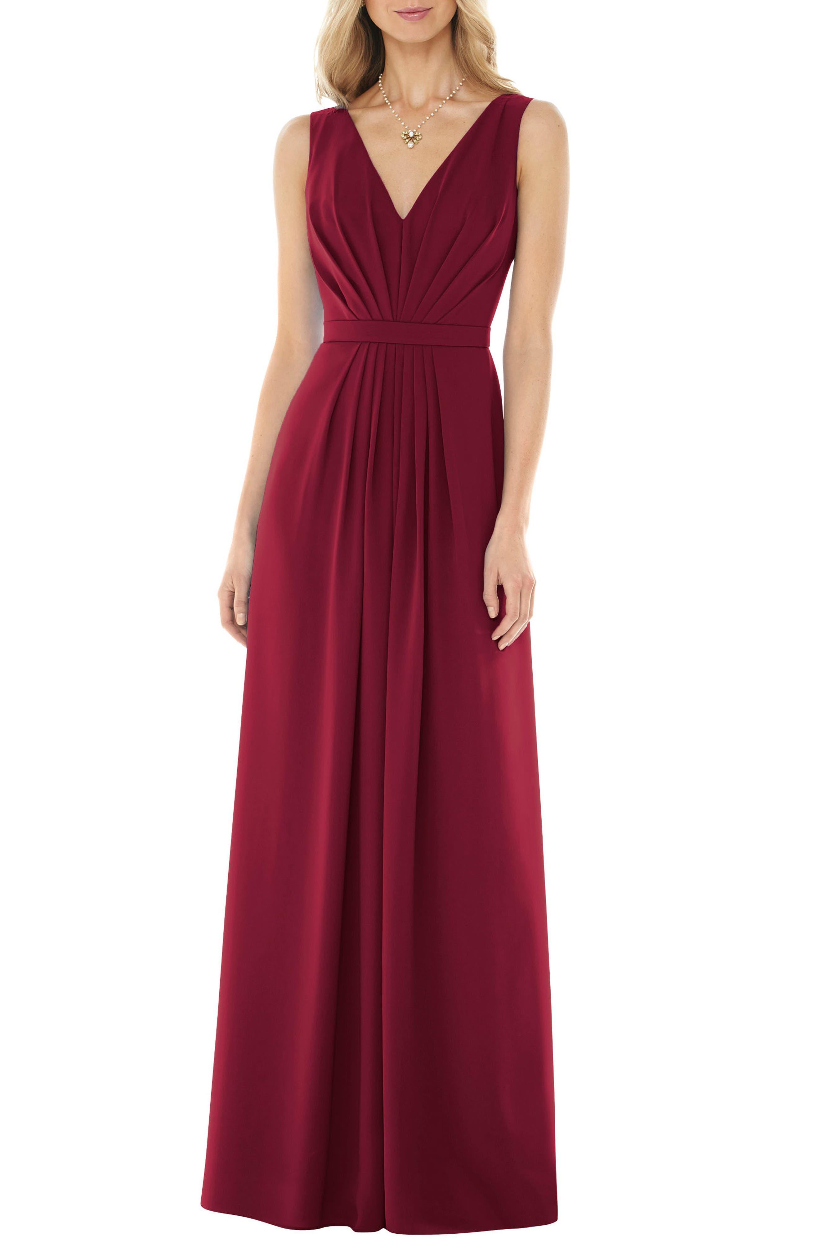 Social Bridesmaids V-Neck Georgette Gown, Burgundy