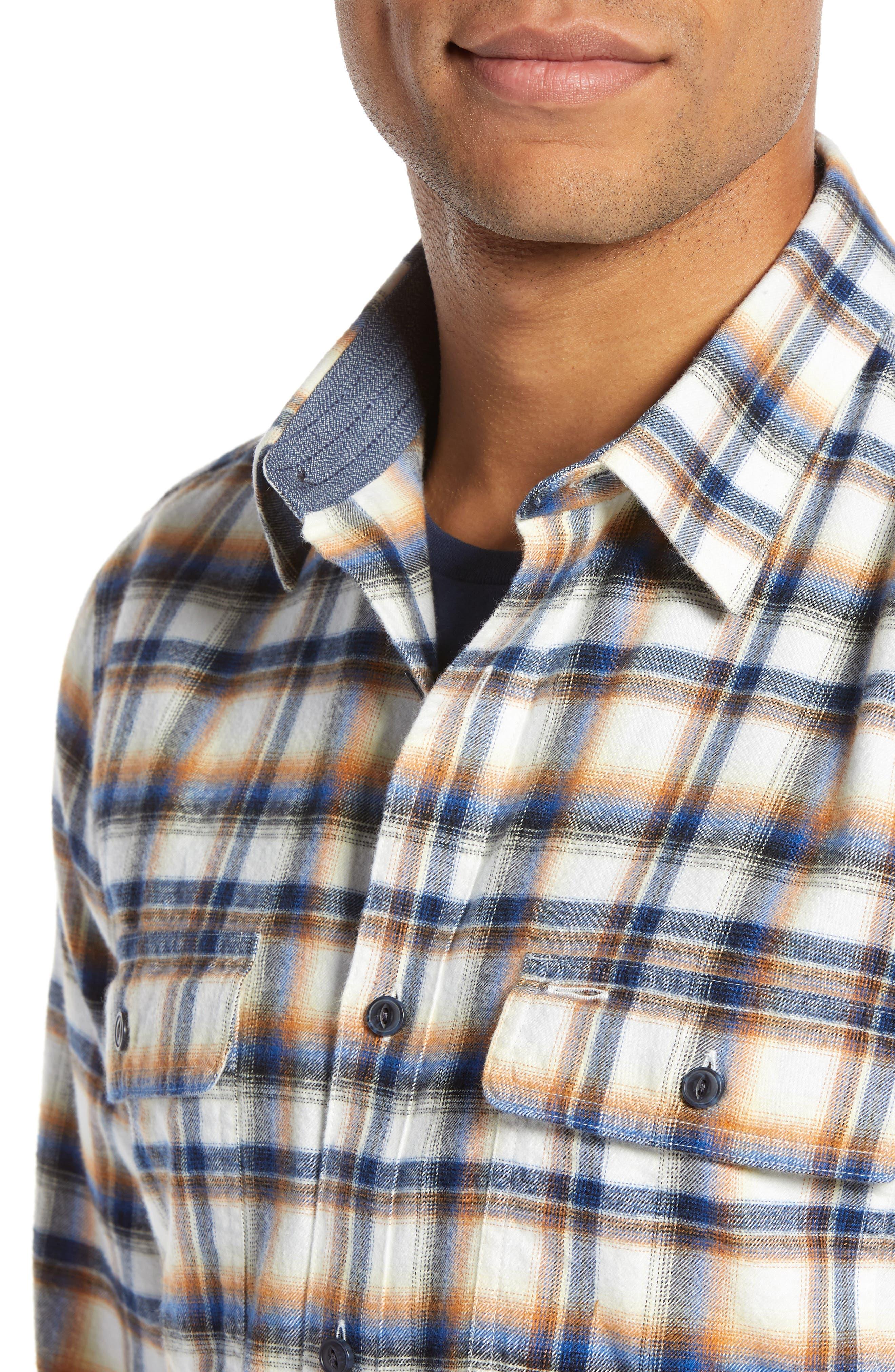 Trim Fit Trucker Plaid Sport Shirt,                             Alternate thumbnail 2, color,                             IVORY BLUE ORANGE PLAID