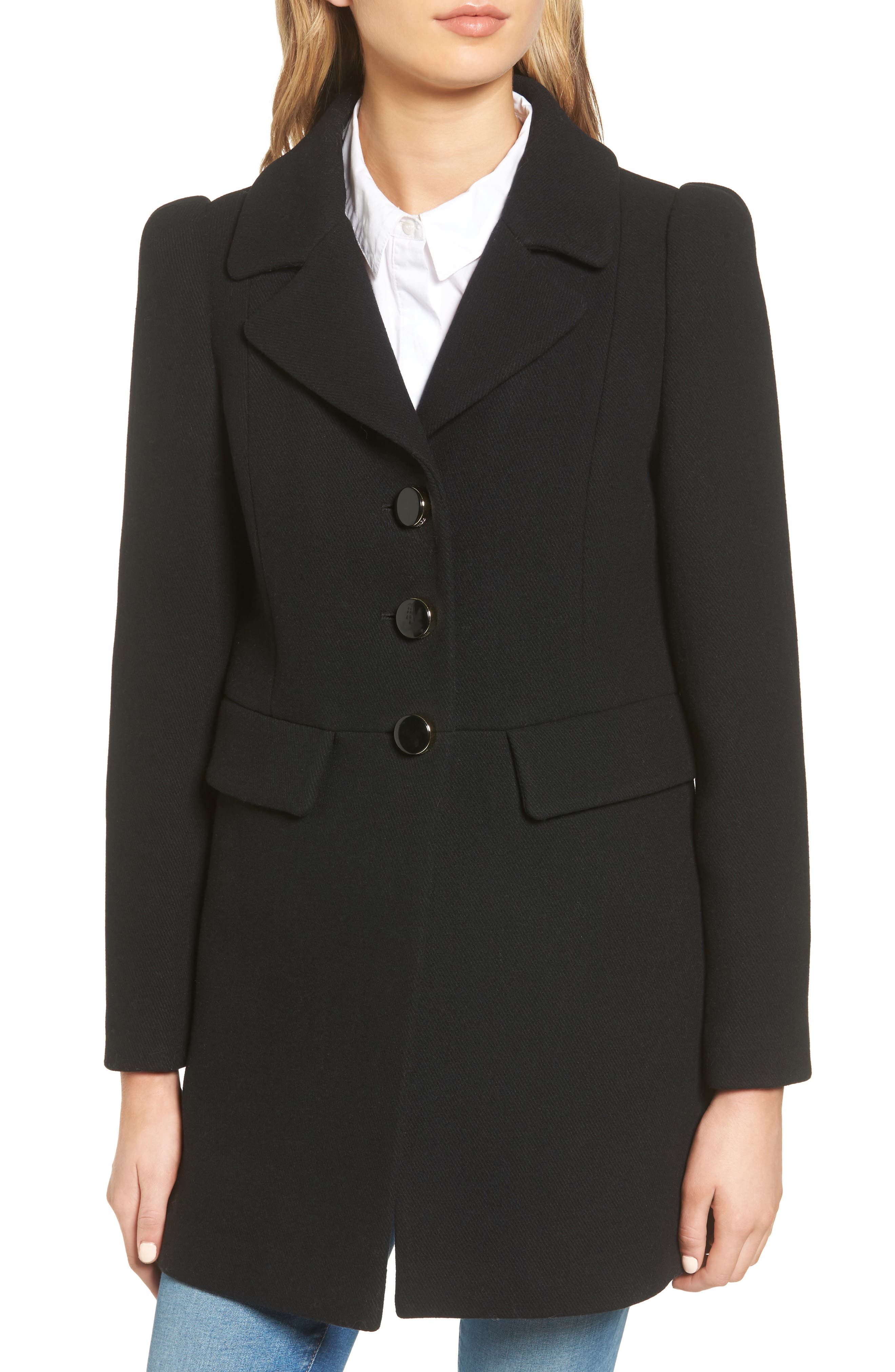 peacoat with faux fur trim,                             Alternate thumbnail 4, color,                             001