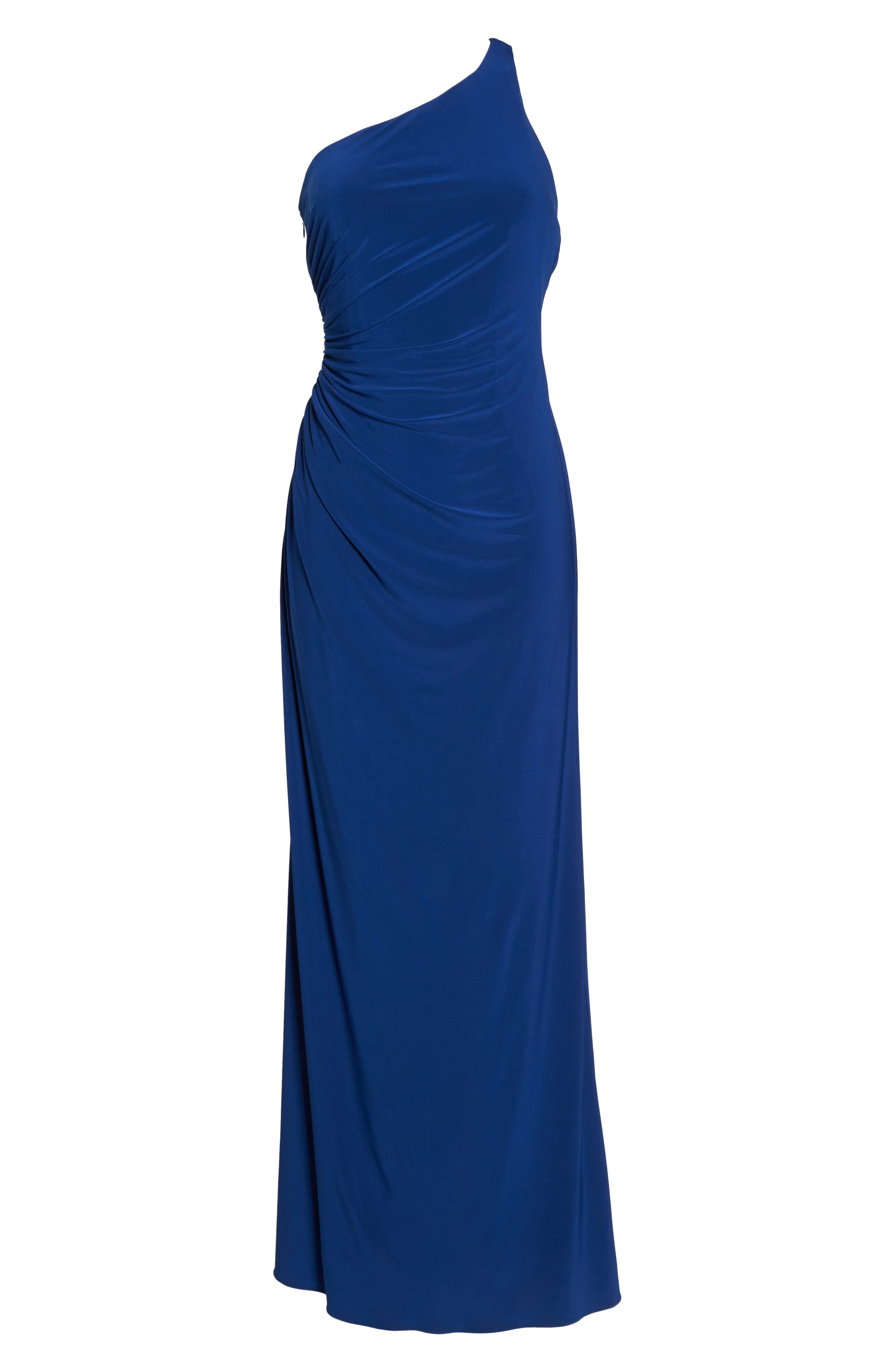 One-Shoulder Ruched Jersey Gown,                             Alternate thumbnail 6, color,                             412