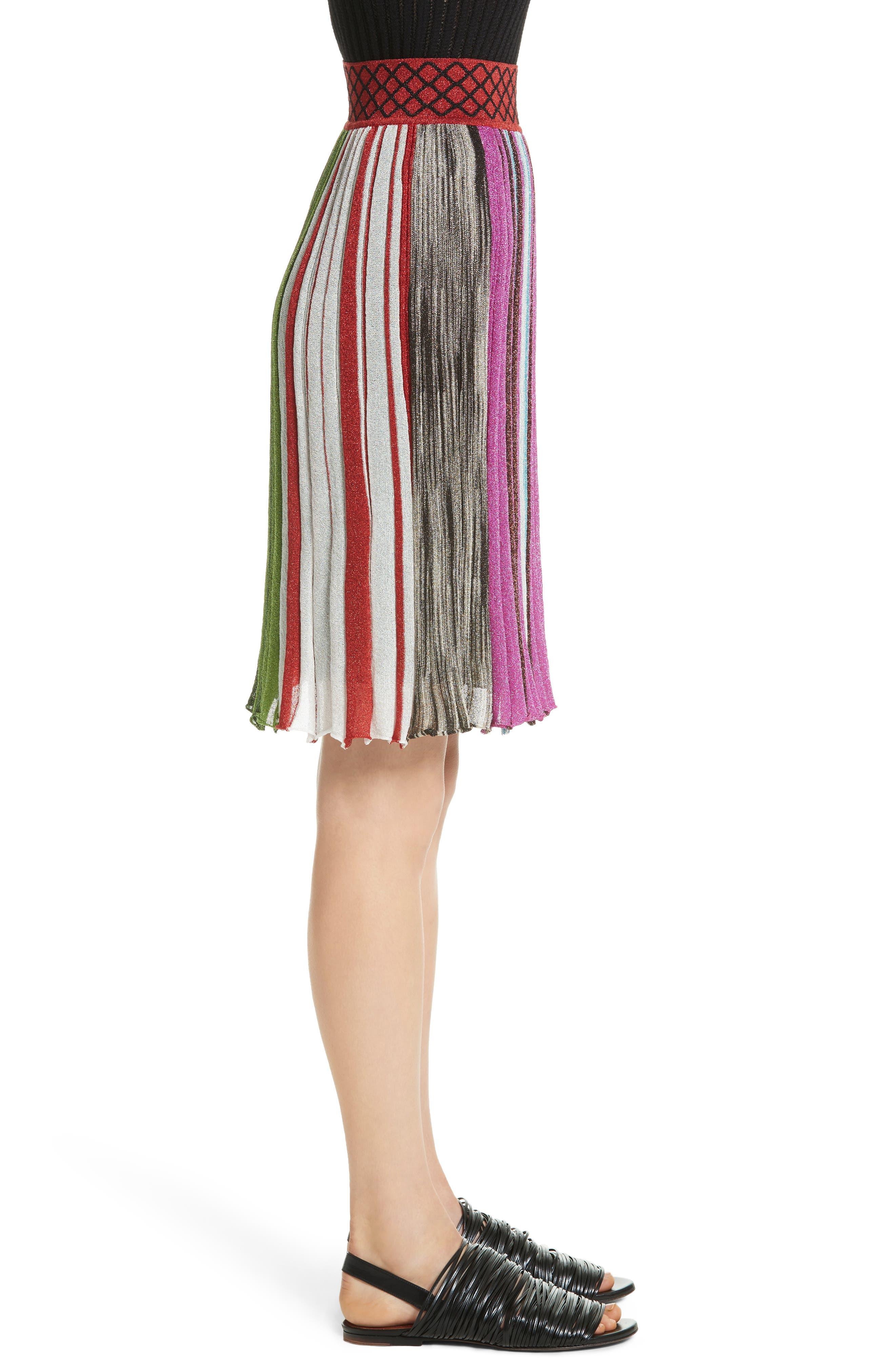 Metallic Stripe Skirt,                             Alternate thumbnail 3, color,                             640