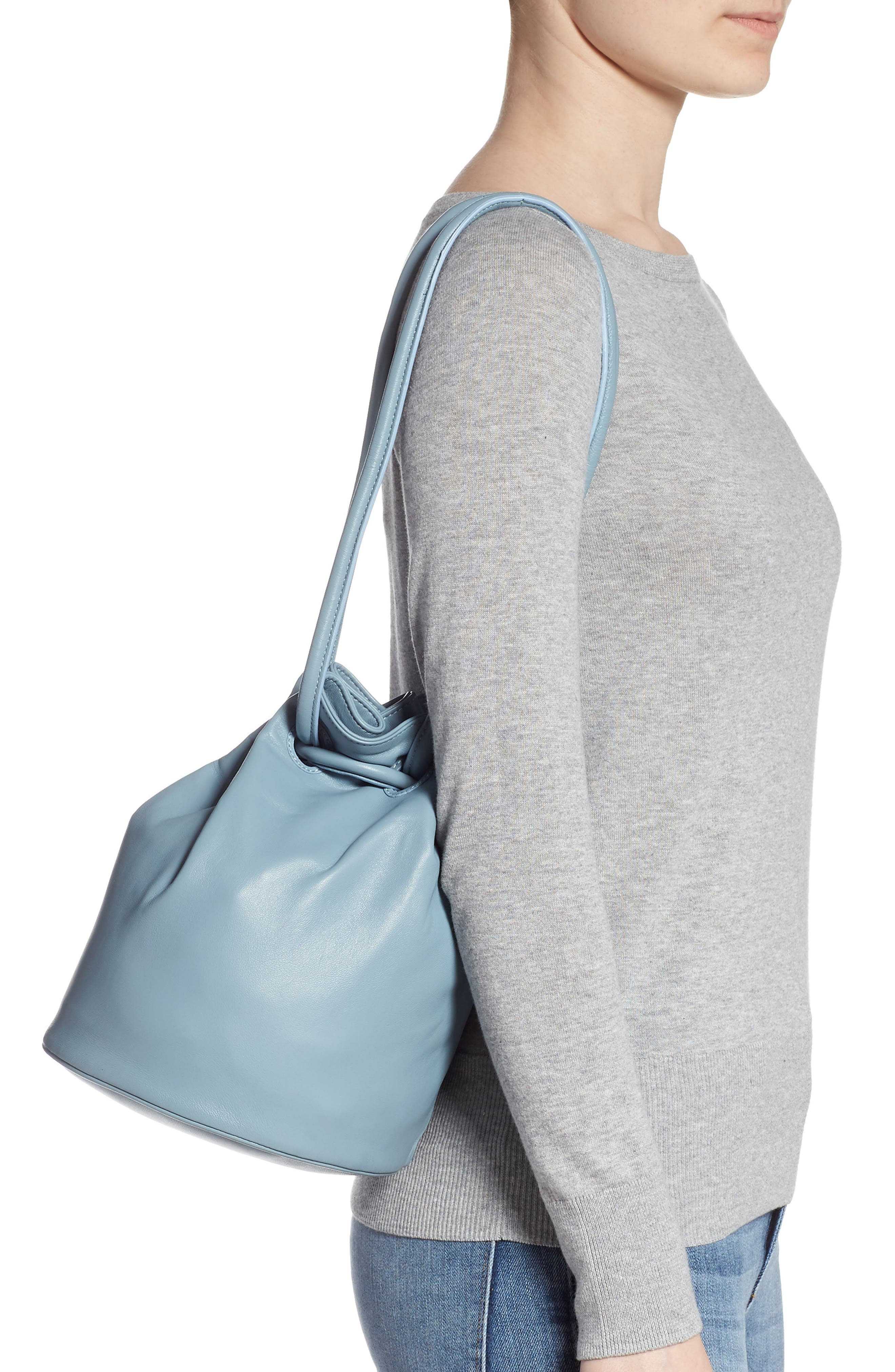 Lambskin Leather Drawstring Pouch,                             Alternate thumbnail 2, color,                             GREY BLUE
