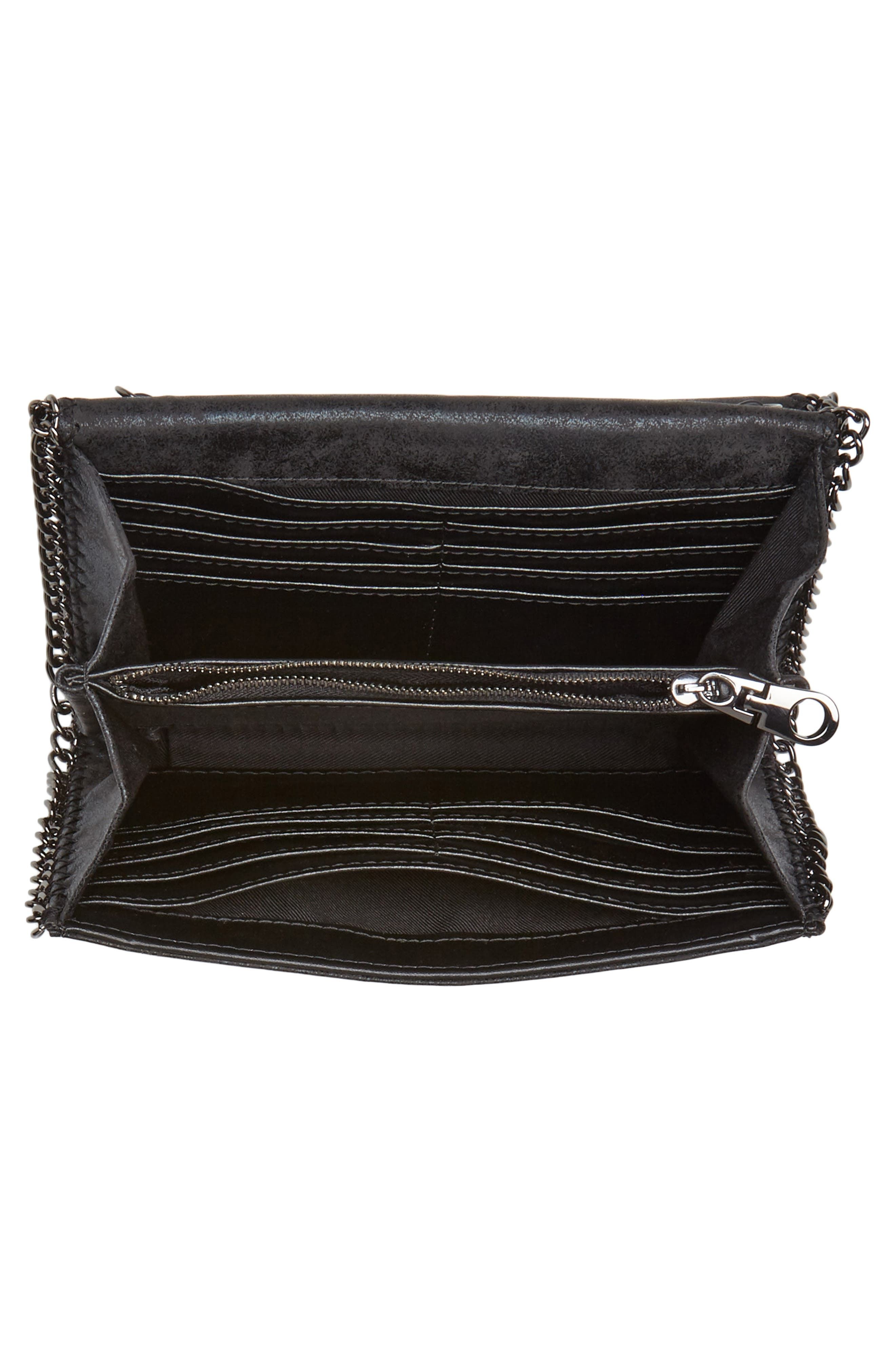 Faux Leather Wallet on a Chain,                             Alternate thumbnail 4, color,                             BLACK