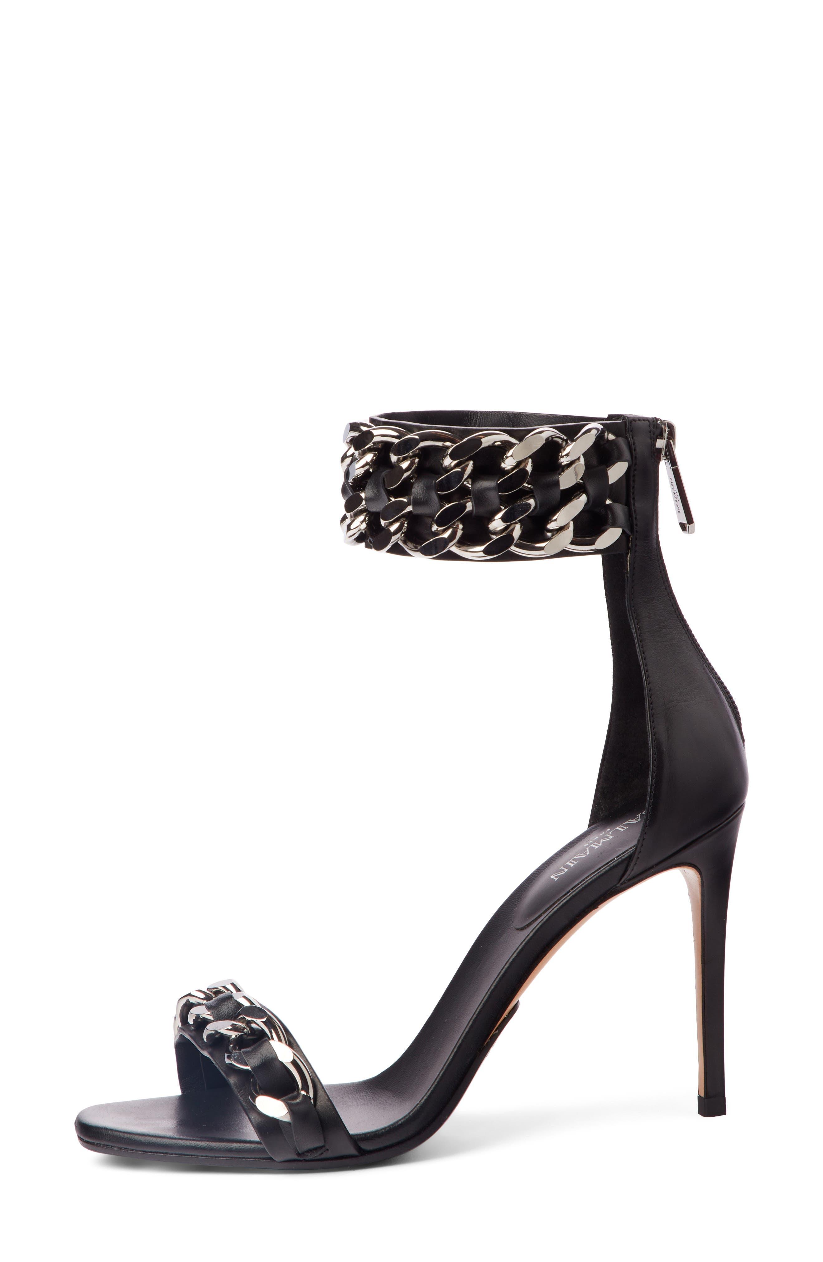 Chain Ankle Strap Sandal,                             Alternate thumbnail 3, color,                             BLACK
