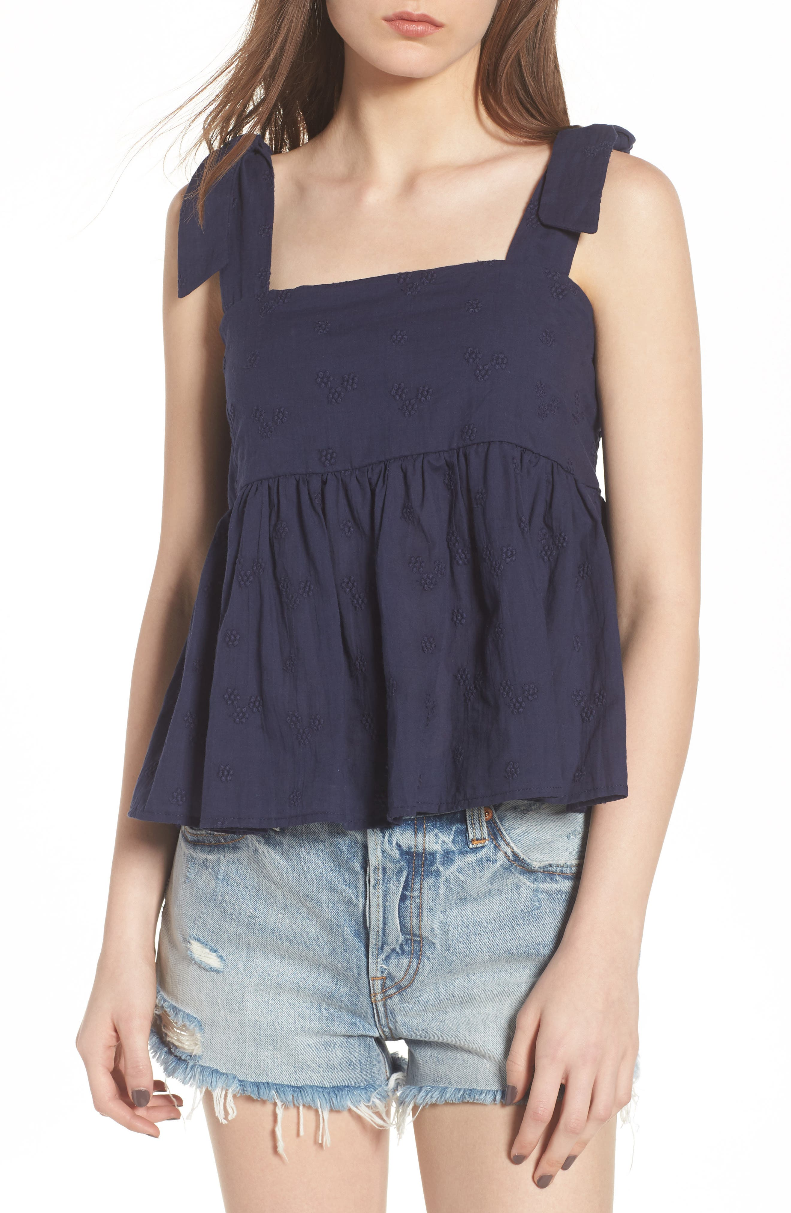 Embroidered Peplum Tank,                             Main thumbnail 3, color,