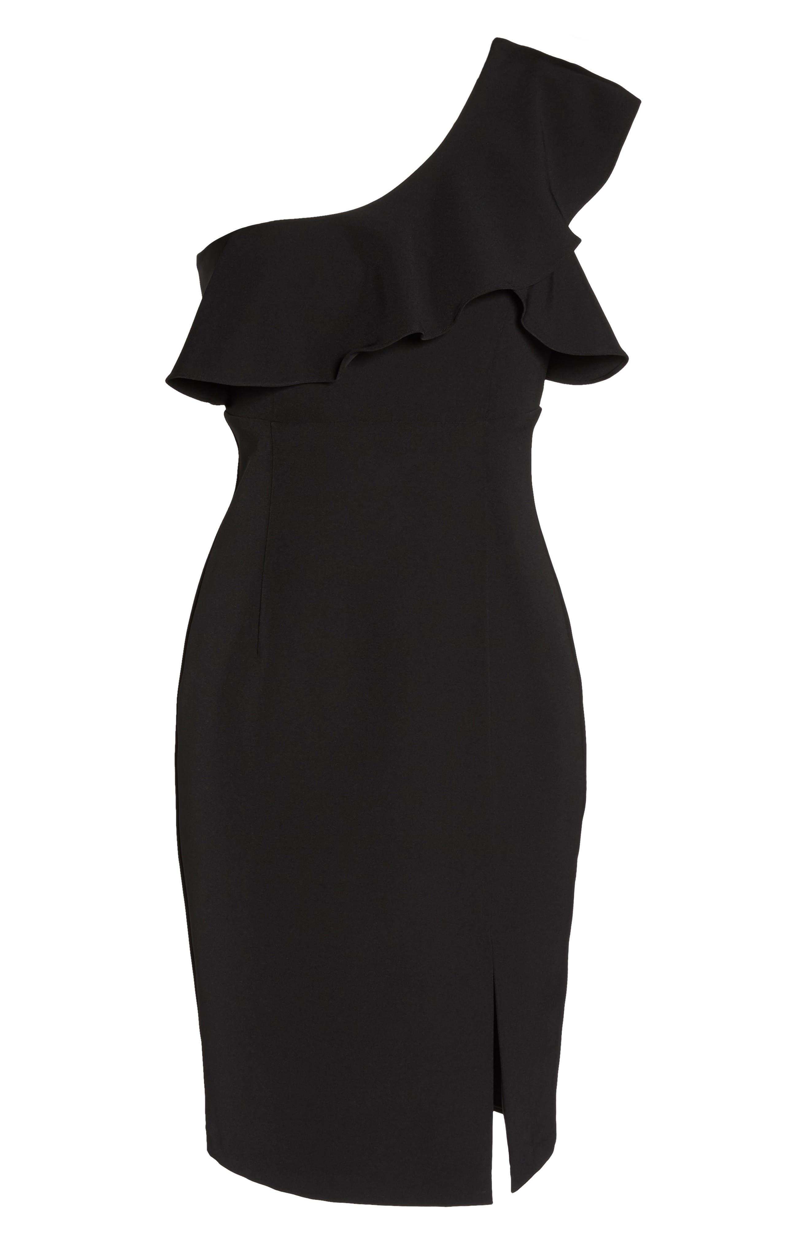 One-Shoulder Ruffle Sheath Dress,                             Alternate thumbnail 11, color,