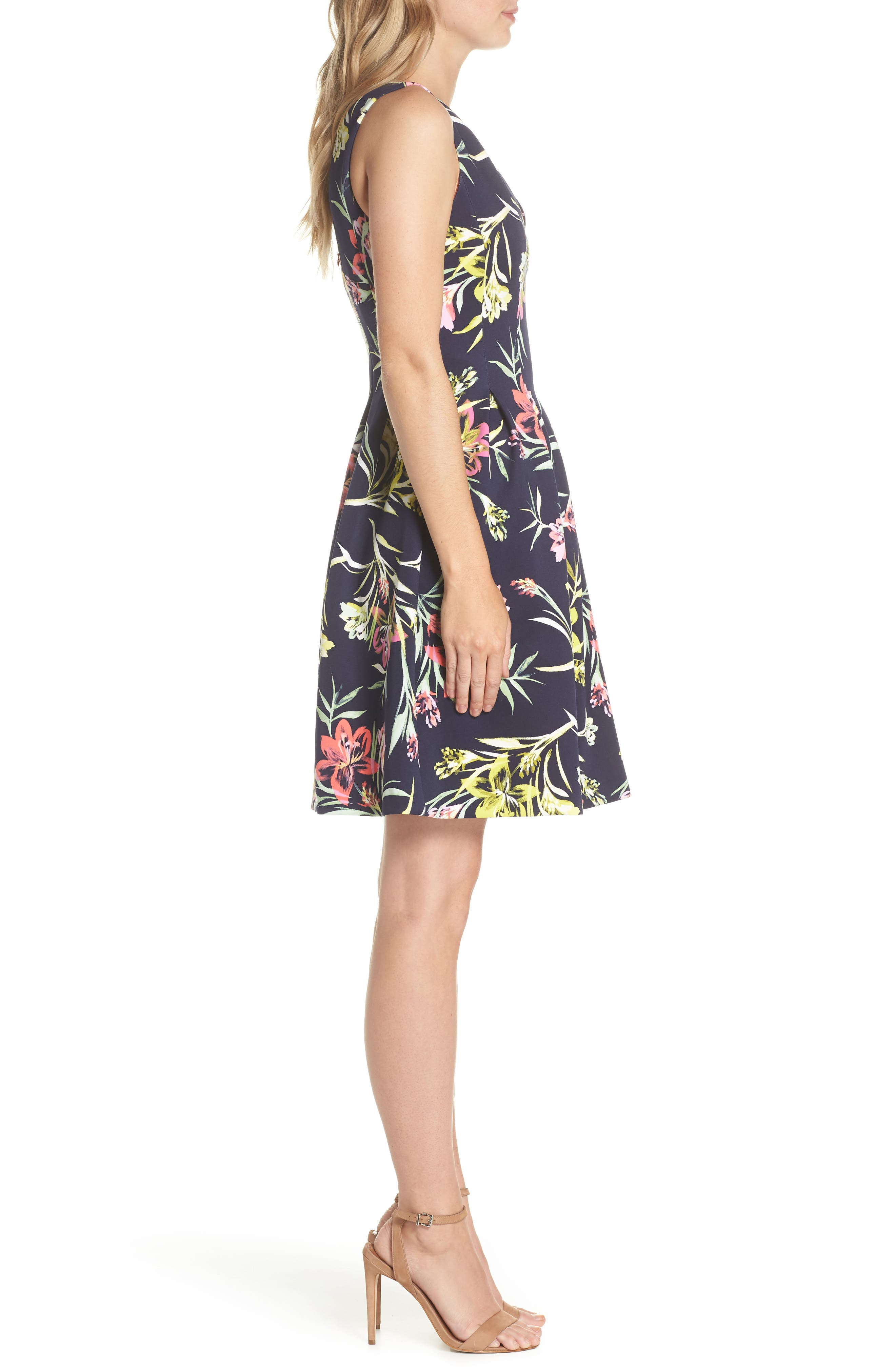 Floral Print Scuba Crepe Fit & Flare Dress,                             Alternate thumbnail 3, color,
