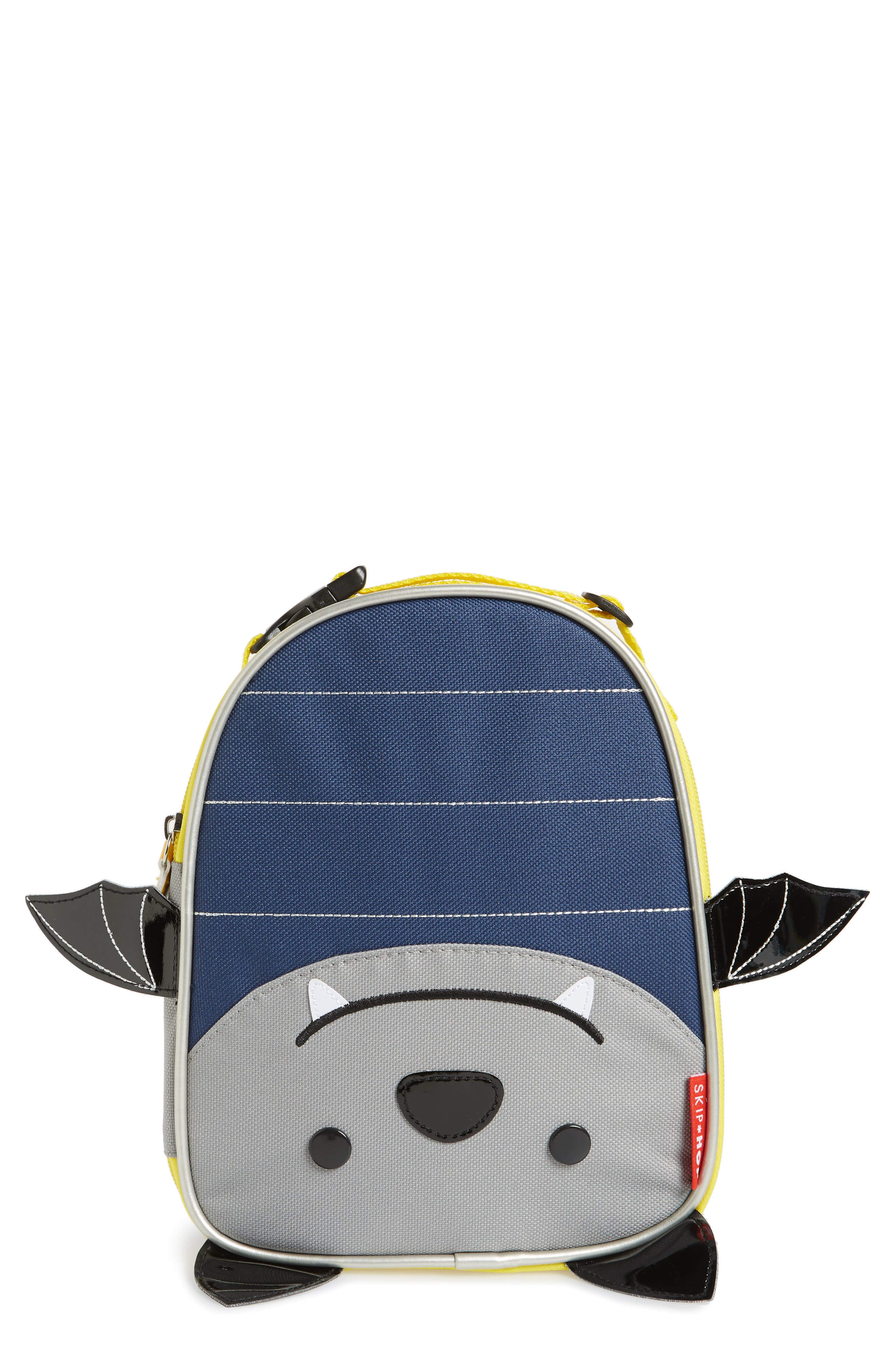 Zoo Lunchie - Bat Insulated Lunch Bag, Main, color, NAVY BLUE