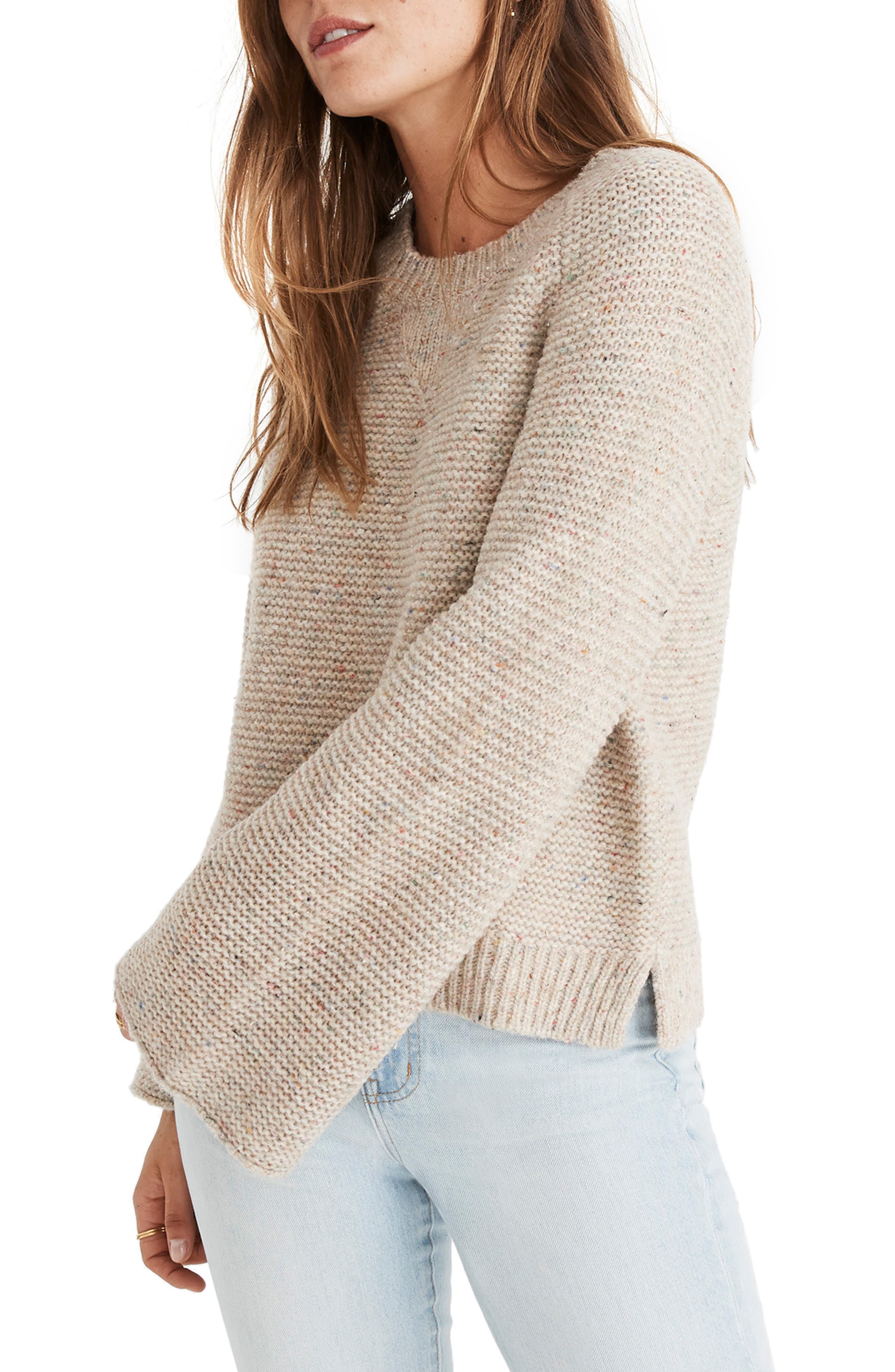 MADEWELL,                             Flecked Wide Sleeve Sweater,                             Alternate thumbnail 3, color,                             020